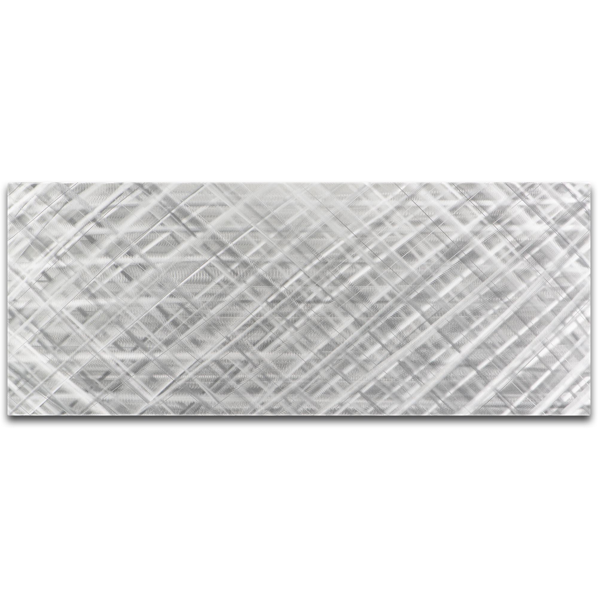 Helena Martin 'Silver Diamonds' 48in x 19in Original Abstract Metal Art on Ground Metal