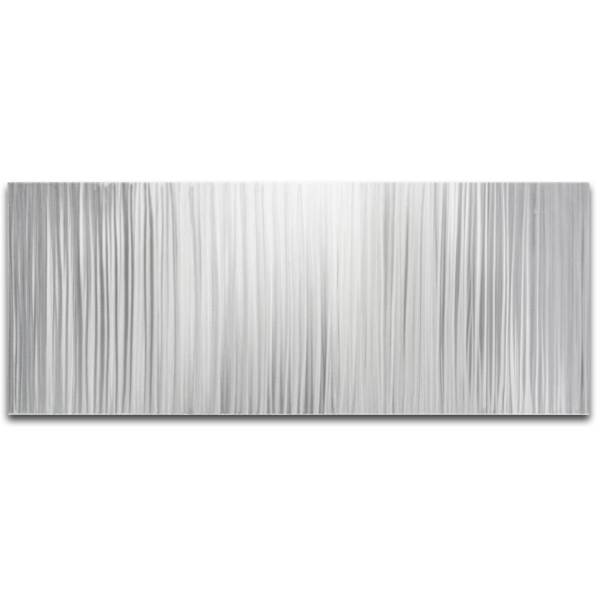 Helena Martin 'Silver Lines' 48in x 19in Original Abstract Metal Art on Ground Metal