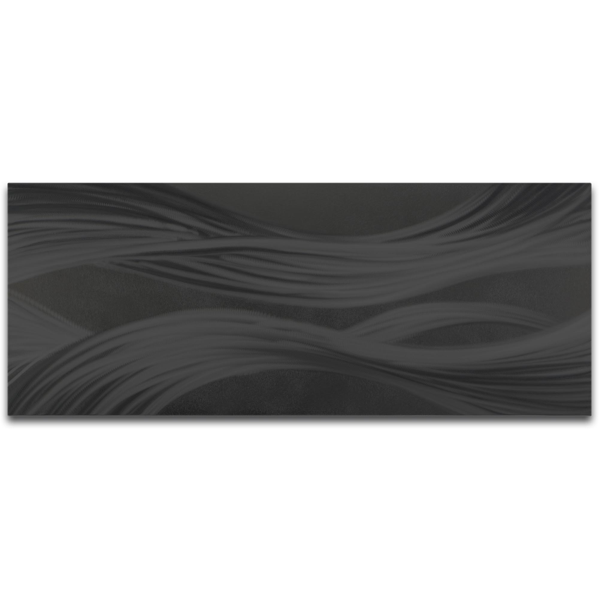 Helena Martin 'Black Ribbons' 48in x 19in Original Abstract Metal Art on Ground and Painted Metal