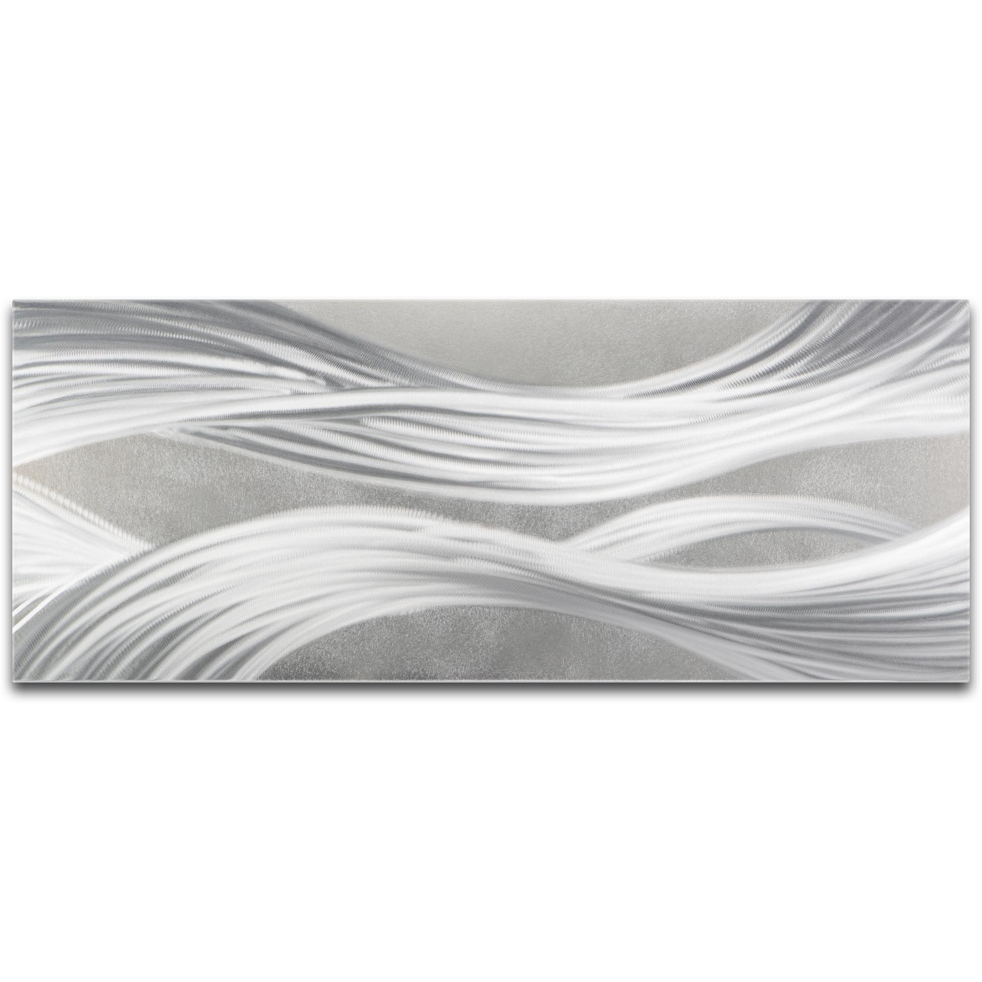 Helena Martin 'Silver Ribbons' 48in x 19in Original Abstract Metal Art on Ground Metal