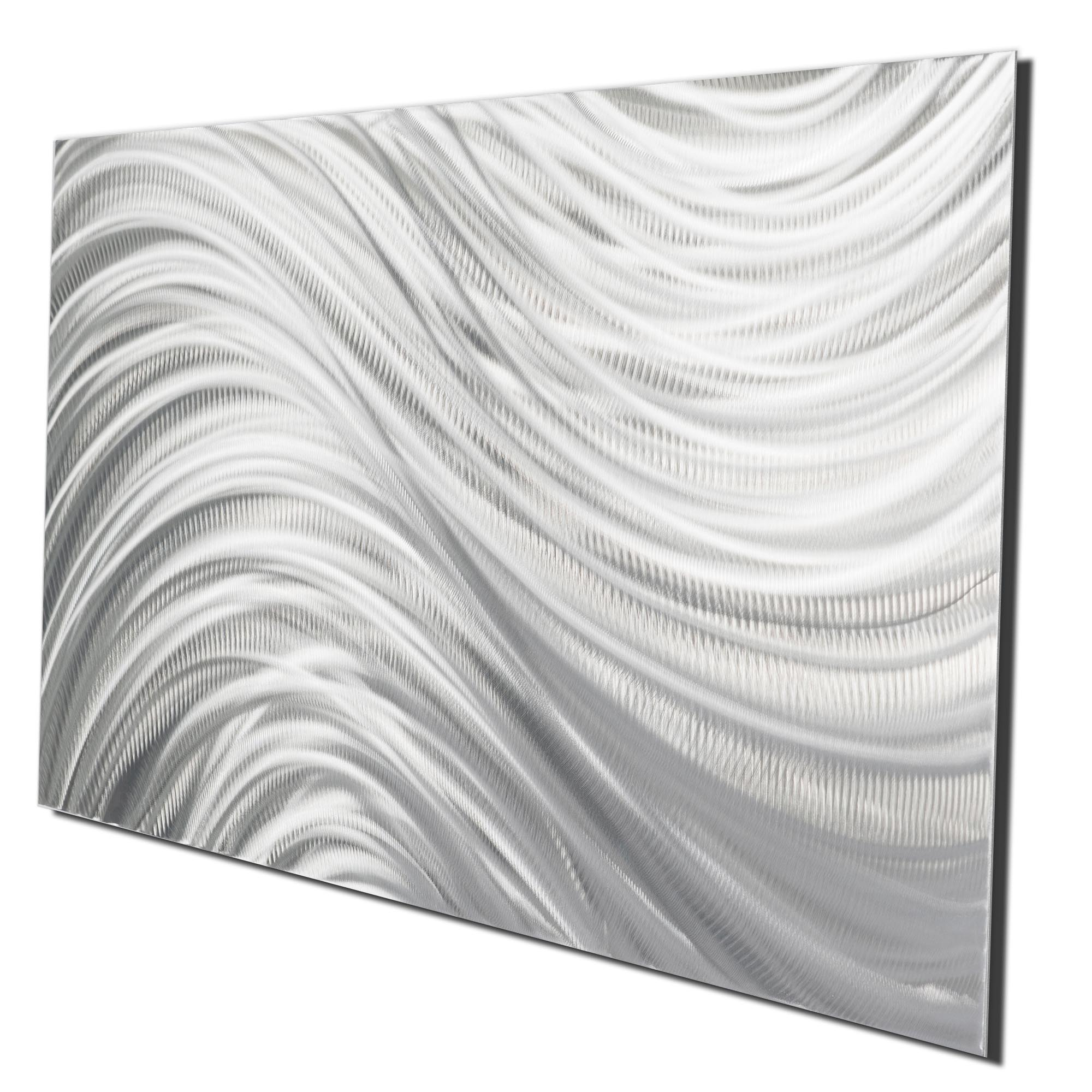 Silver Currents by Helena Martin - Original Abstract Metal Art on Ground Metal - Image 2