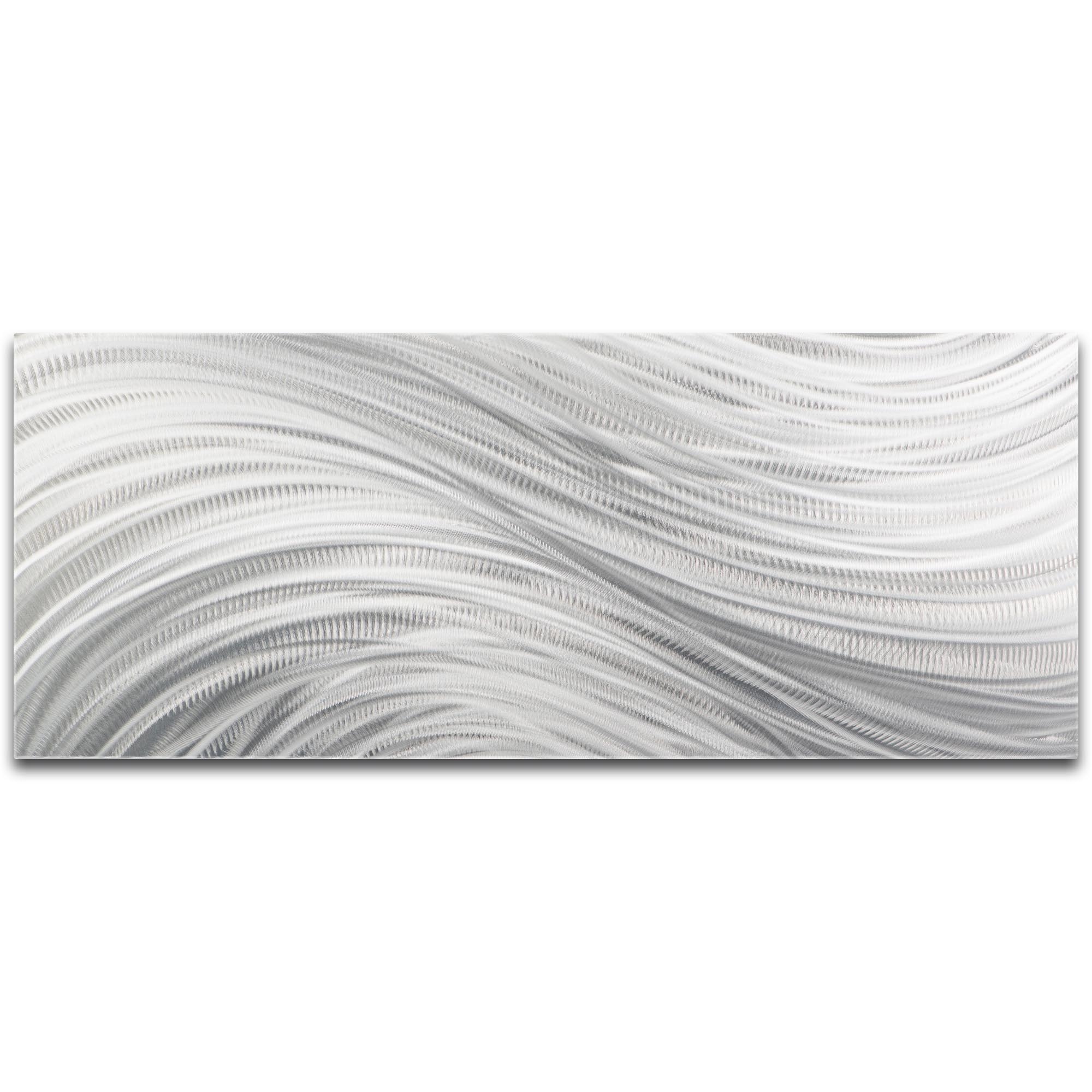 Helena Martin 'Silver Currents' 48in x 19in Original Abstract Metal Art on Ground Metal