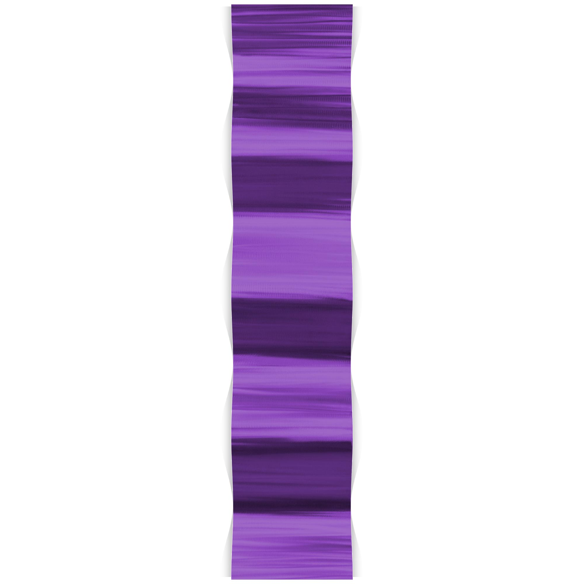 Helena Martin 'Purple Wave' 9.5in x 44in Original Abstract Metal Art on Ground and Painted Metal