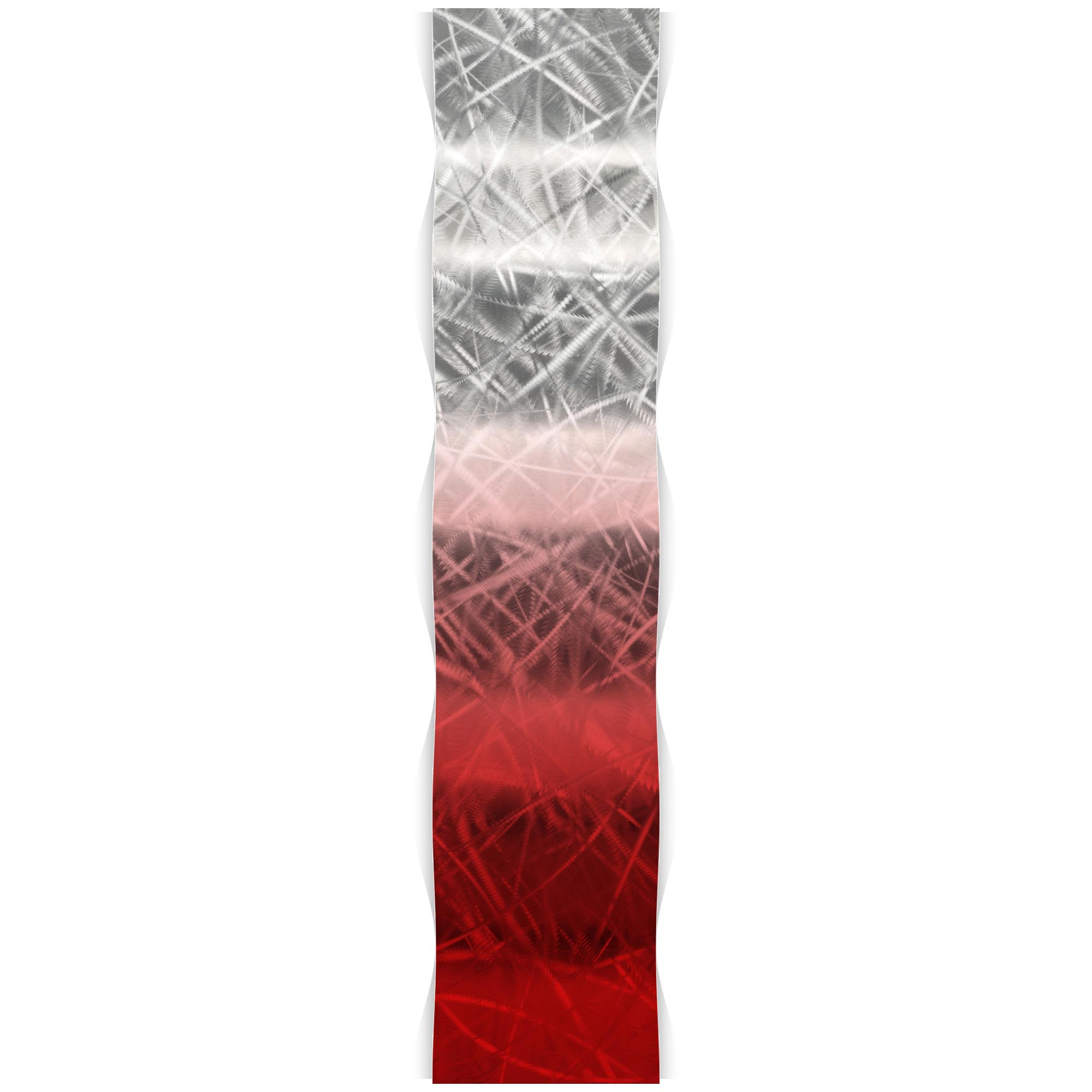 Helena Martin 'Red Fade Wave' 9.5in x 44in Original Abstract Metal Art on Ground and Painted Metal