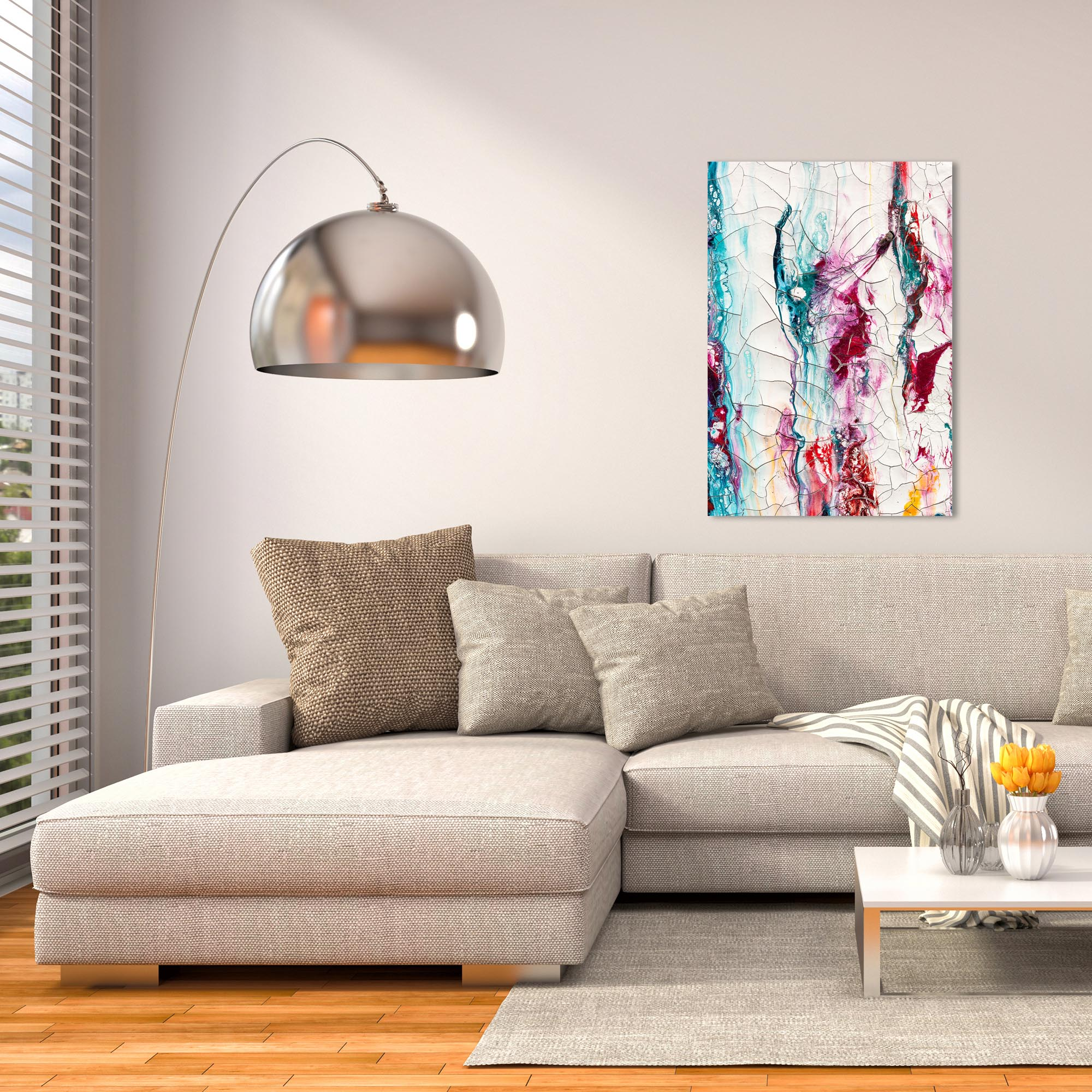 Abstract Wall Art 'Collateral Damage 3' - Colorful Urban Decor on Metal or Plexiglass - Lifestyle View