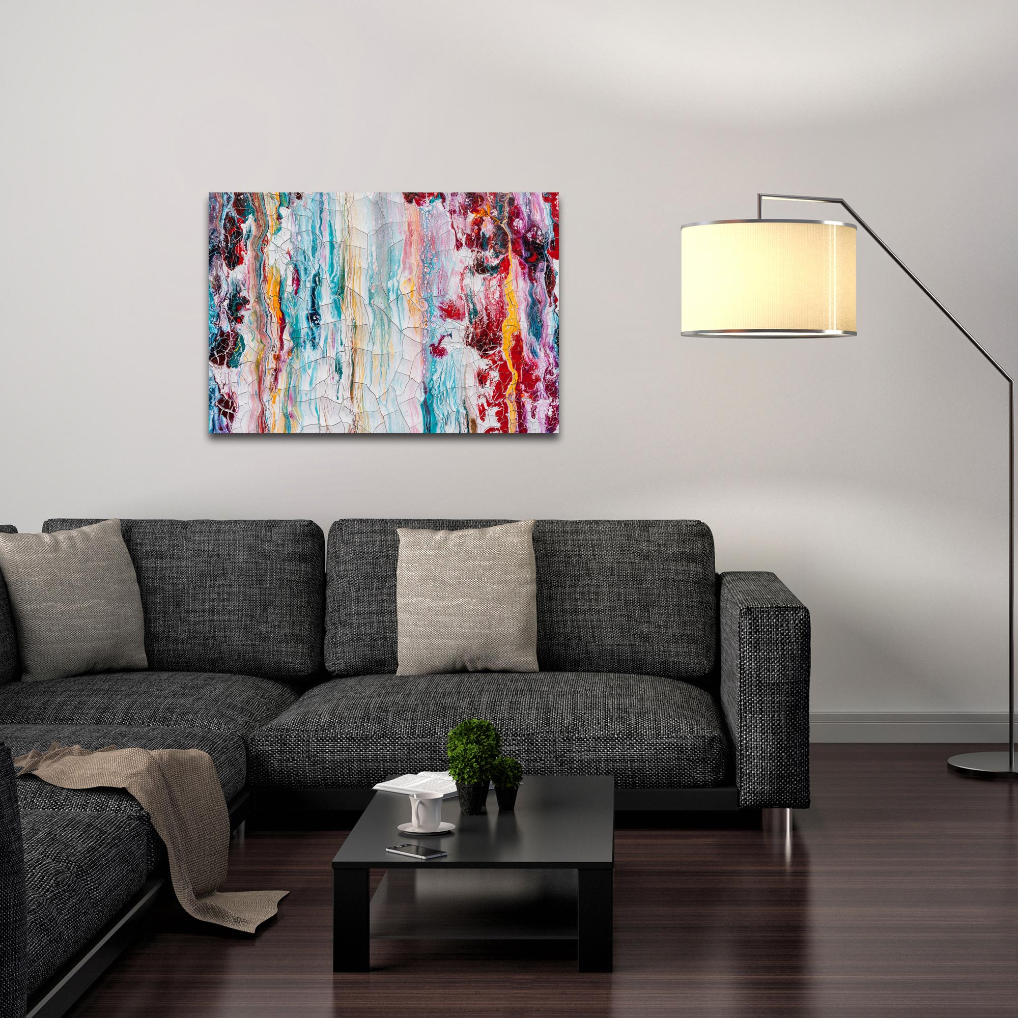 Abstract Wall Art 'Cracks 1' - Urban Decor on Metal or Plexiglass - Lifestyle View