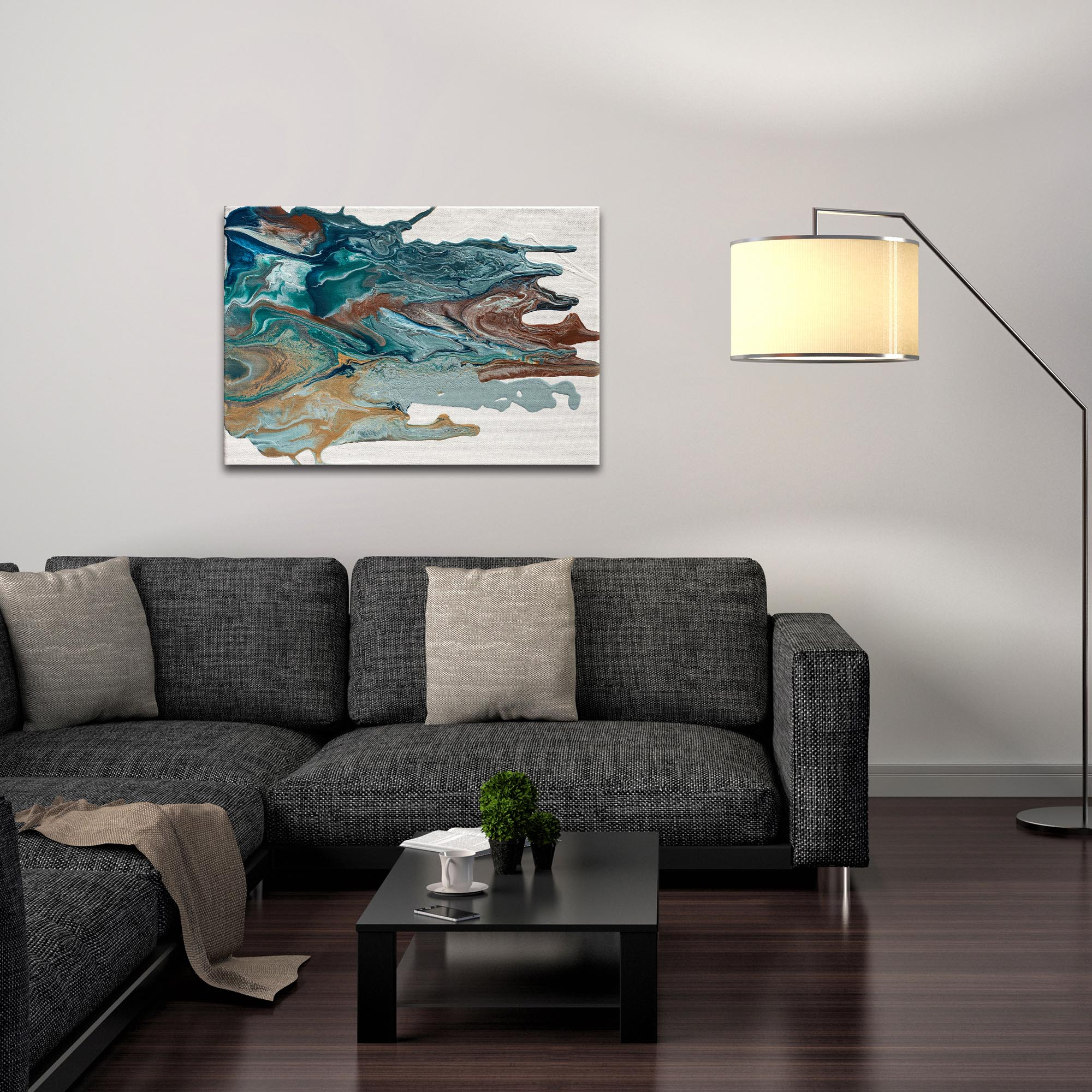 Abstract Wall Art 'Earth 1' - Urban Splatter Decor on Metal or Plexiglass - Lifestyle View