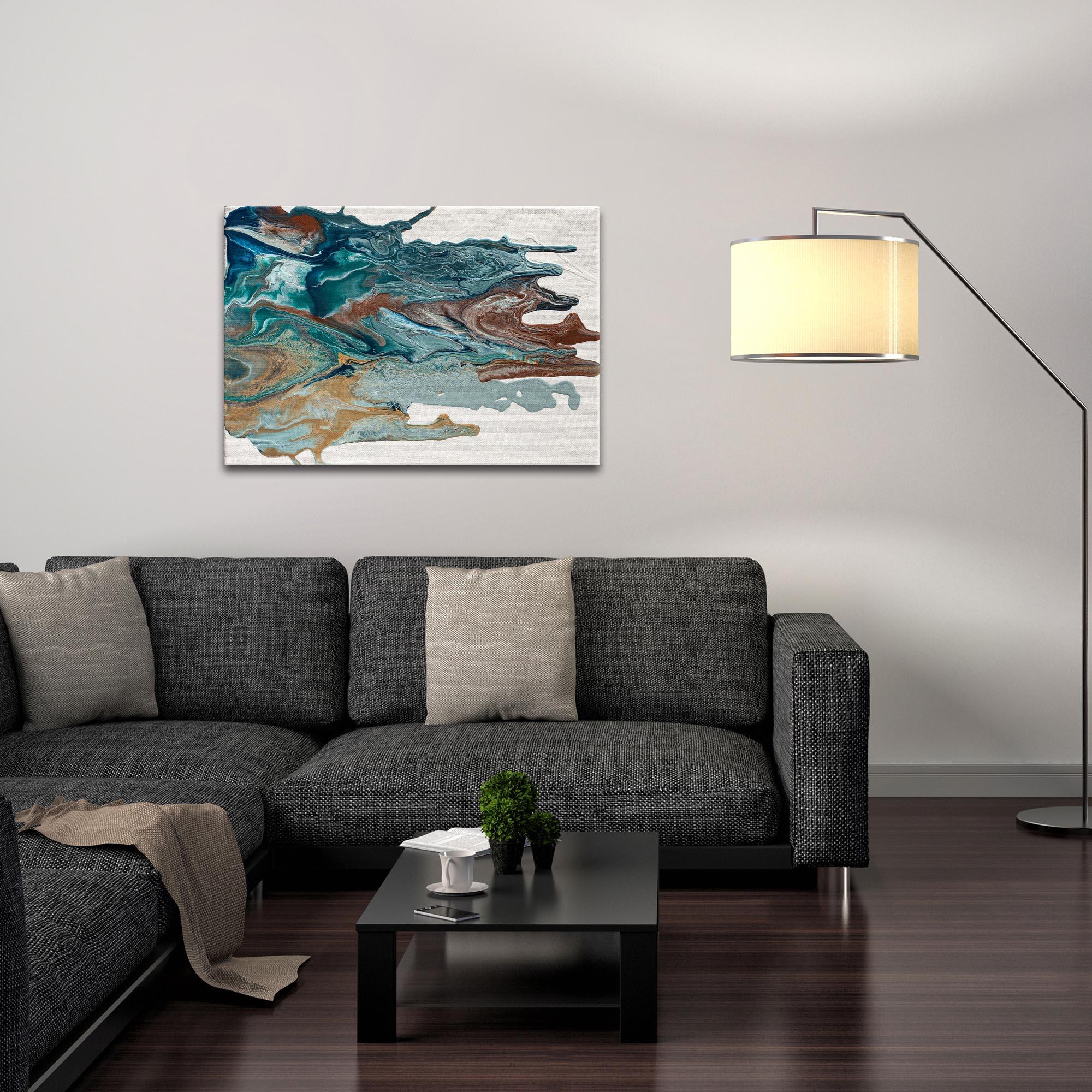 Abstract Wall Art 'Earth 1' - Urban Splatter Decor on Metal or Plexiglass - Lifestyle View