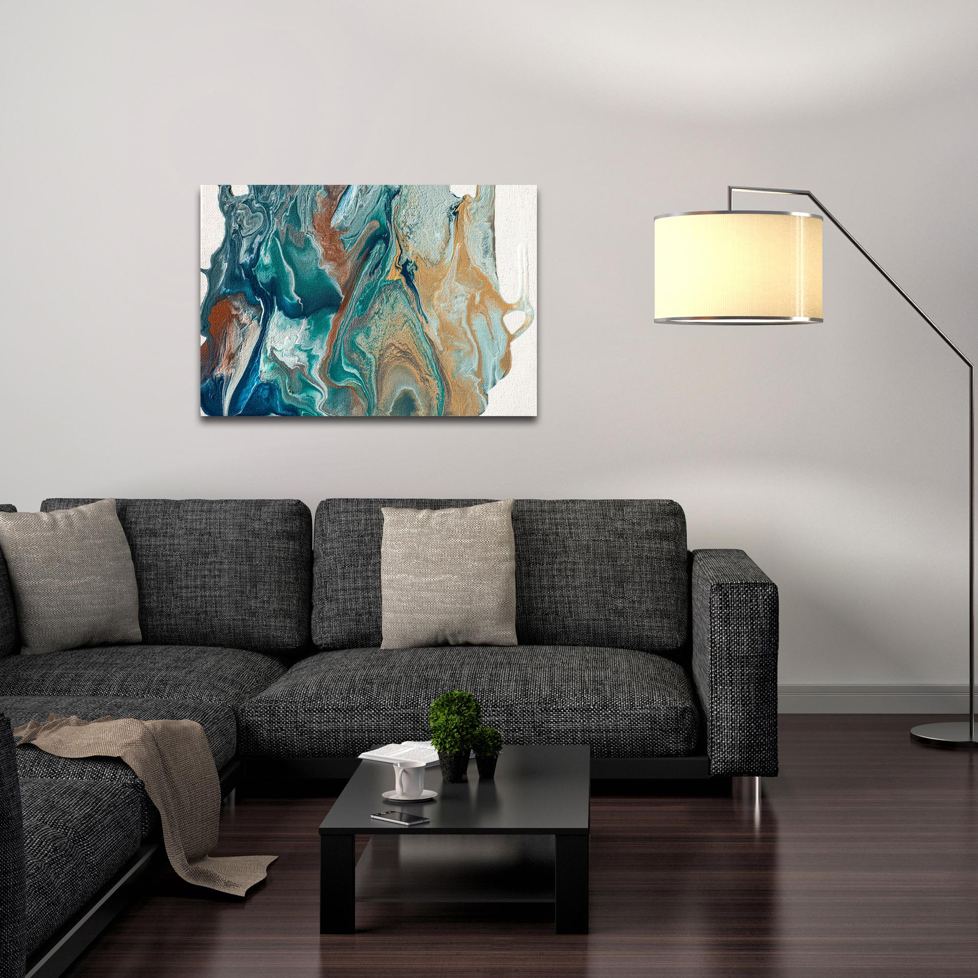Abstract Wall Art 'Earth 2' - Urban Splatter Decor on Metal or Plexiglass - Lifestyle View