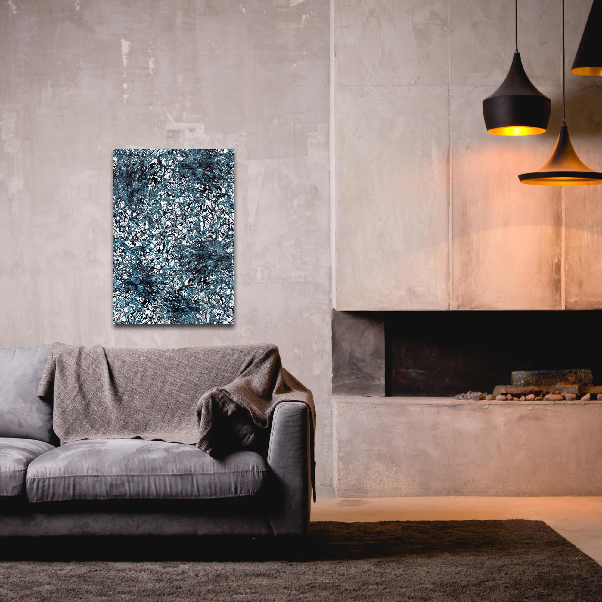Abstract Wall Art 'Days of Grey 4 Quad' - Colorful Urban Decor on Metal or Plexiglass - Lifestyle View
