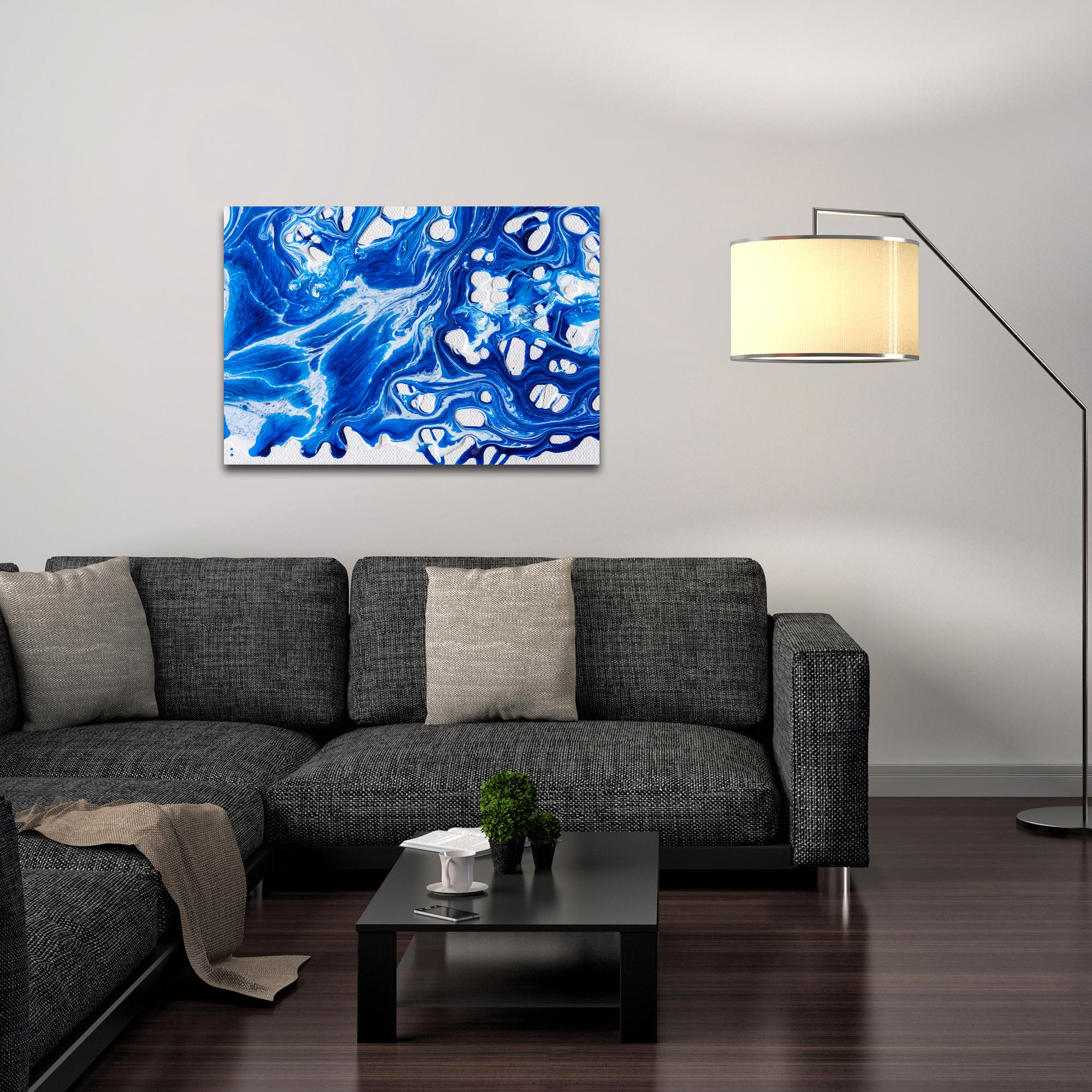 Abstract Wall Art 'Coastal Waters 1' - Colorful Urban Decor on Metal or Plexiglass - Lifestyle View