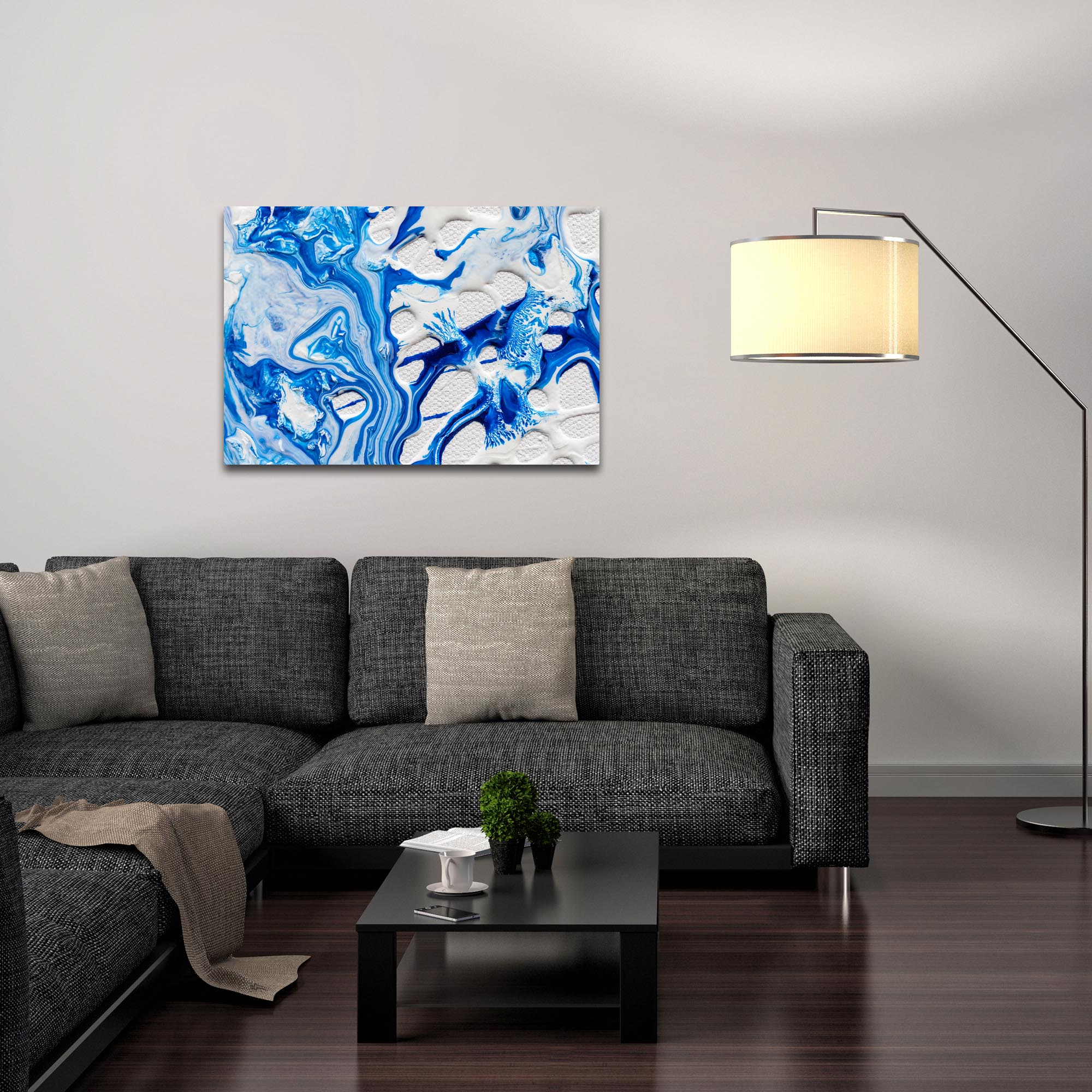 Abstract Wall Art 'Coastal Waters 4' - Colorful Urban Decor on Metal or Plexiglass - Lifestyle View