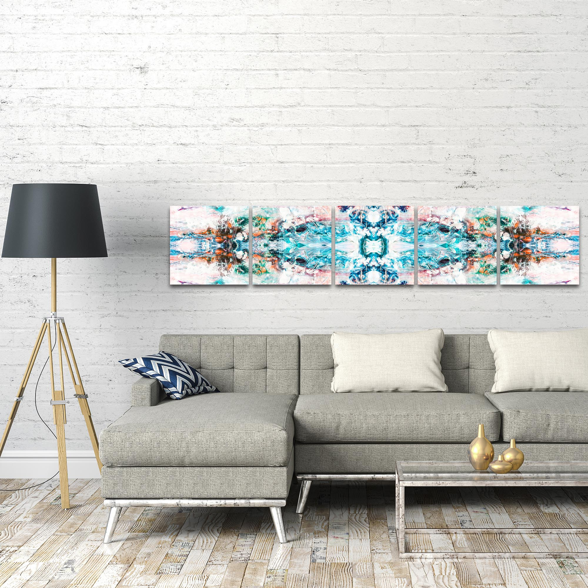 Abstract Wall Art 'Celestial' - Colorful Urban Decor on Metal or Plexiglass - Lifestyle View