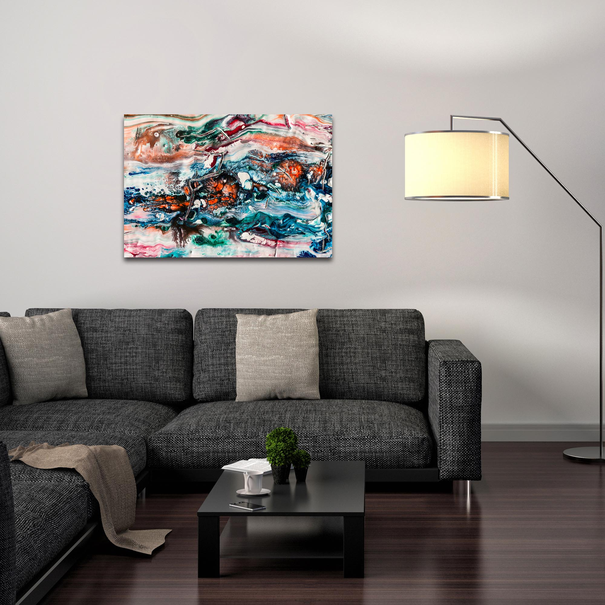 Abstract Wall Art 'Sunset On Her Breath 2' - Colorful Urban Decor on Metal or Plexiglass - Lifestyle View