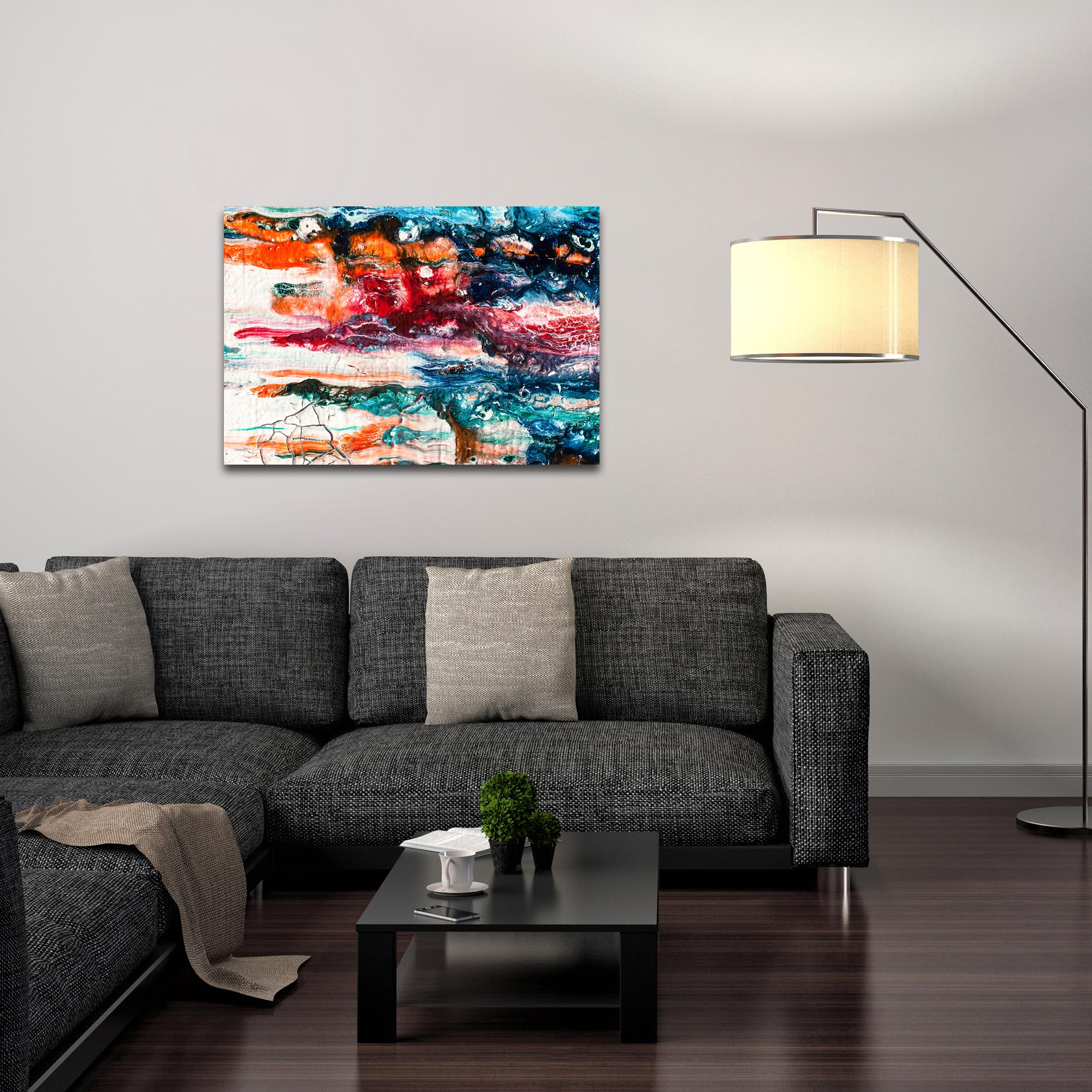 Abstract Wall Art 'Sunset On Her Breath 3' - Colorful Urban Decor on Metal or Plexiglass - Lifestyle View