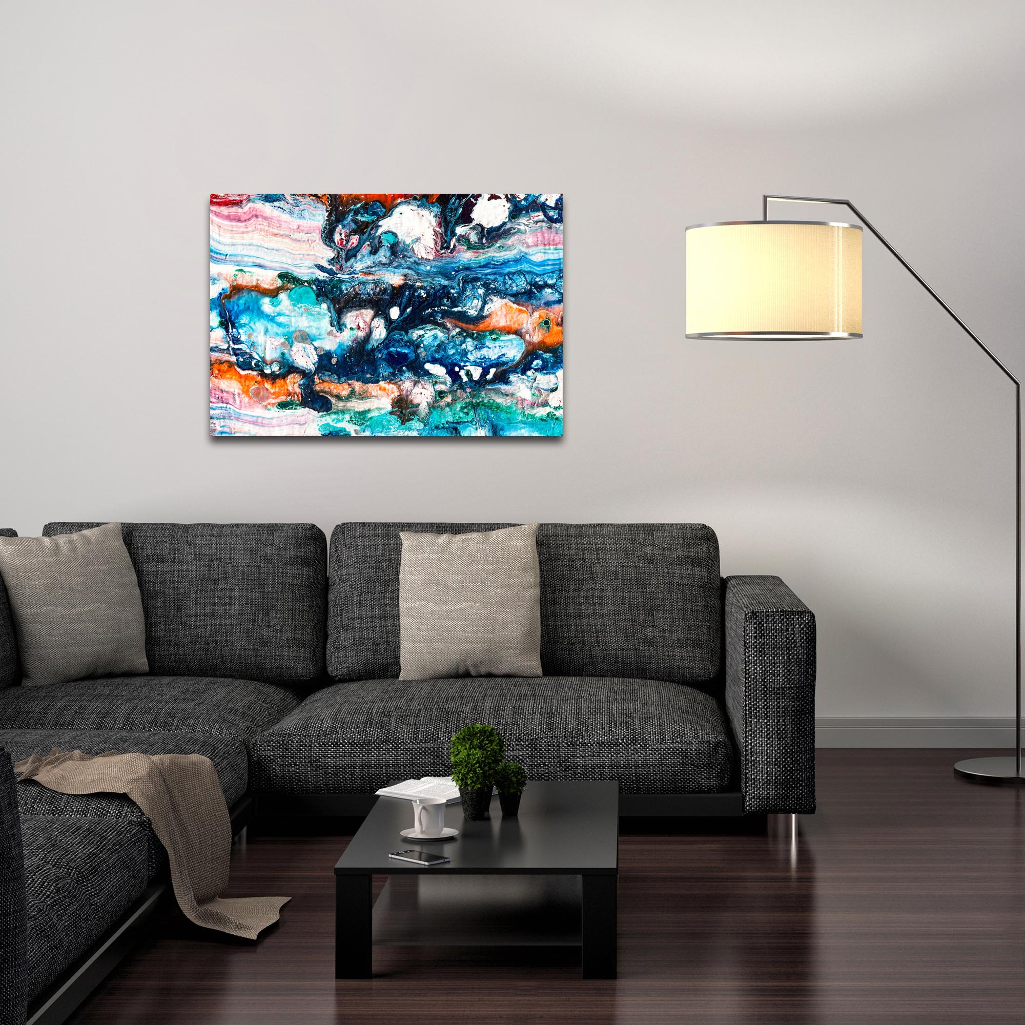 Abstract Wall Art 'Sunset On Her Breath 4' - Colorful Urban Decor on Metal or Plexiglass - Lifestyle View