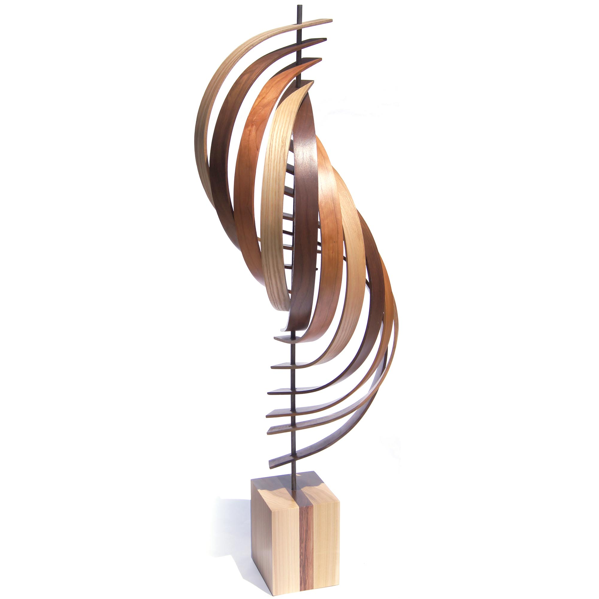 Jeff Linenkugel 'Ascension' 11in x 45in Modern Wood Sculpture on Natural Wood