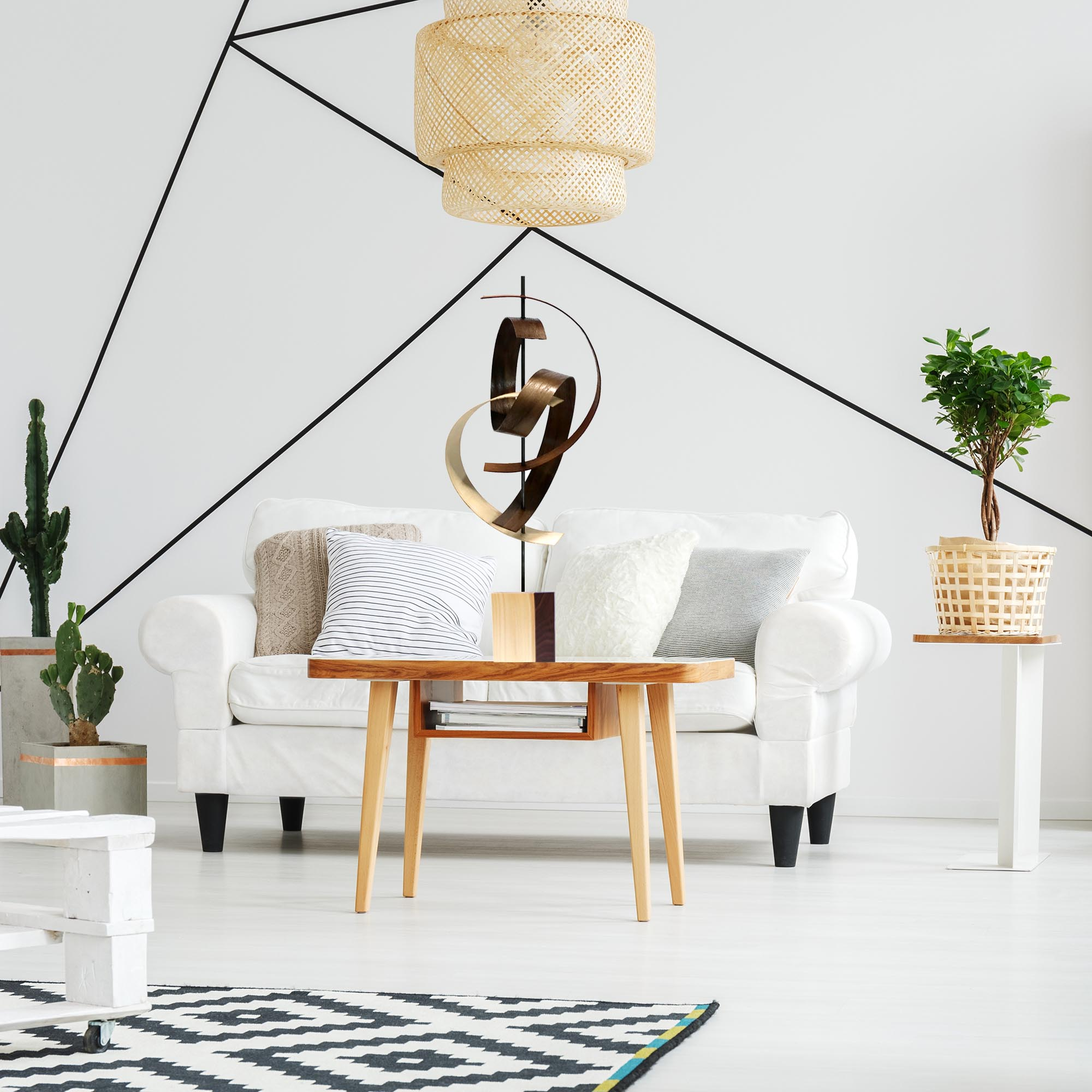 Swing by Jackson Wright - Modern Wood Sculpture, Mid-Century Home Decor - Lifestyle View