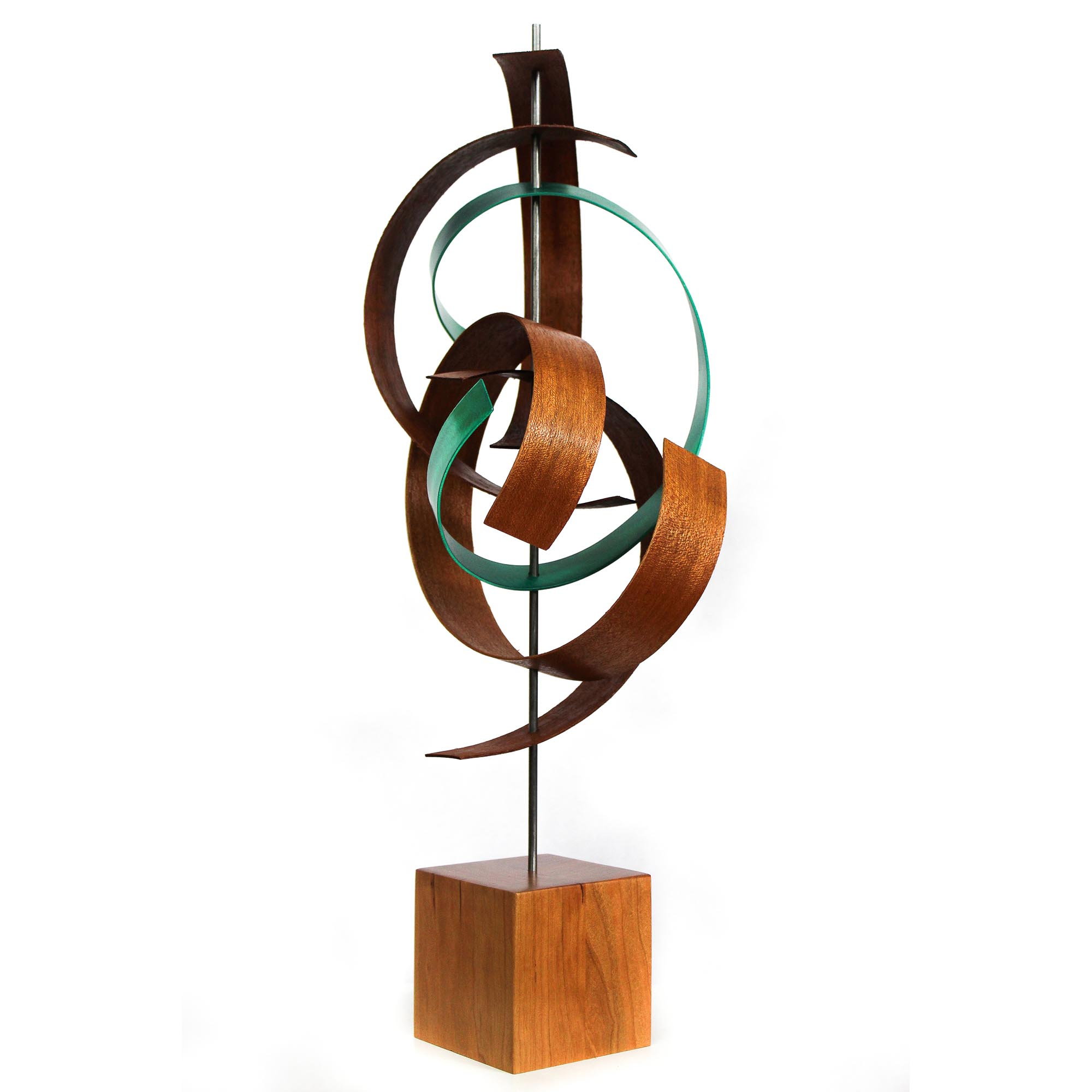 Jackson Wright 'Intertwine' 8in x 21in Contemporary Style Modern Wood Sculpture