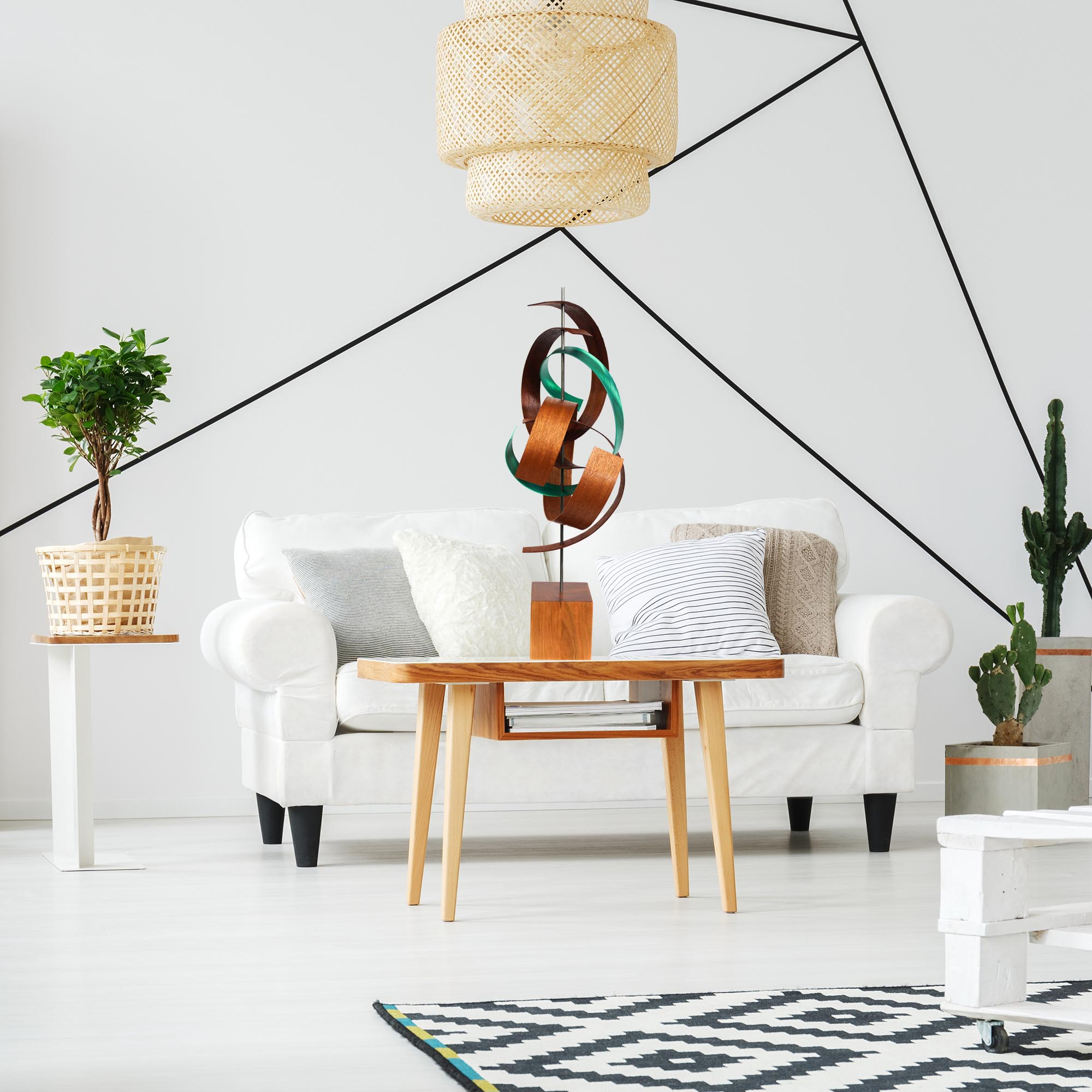 Intertwine by Jackson Wright - Modern Wood Sculpture, Mid-Century Home Decor - Lifestyle View