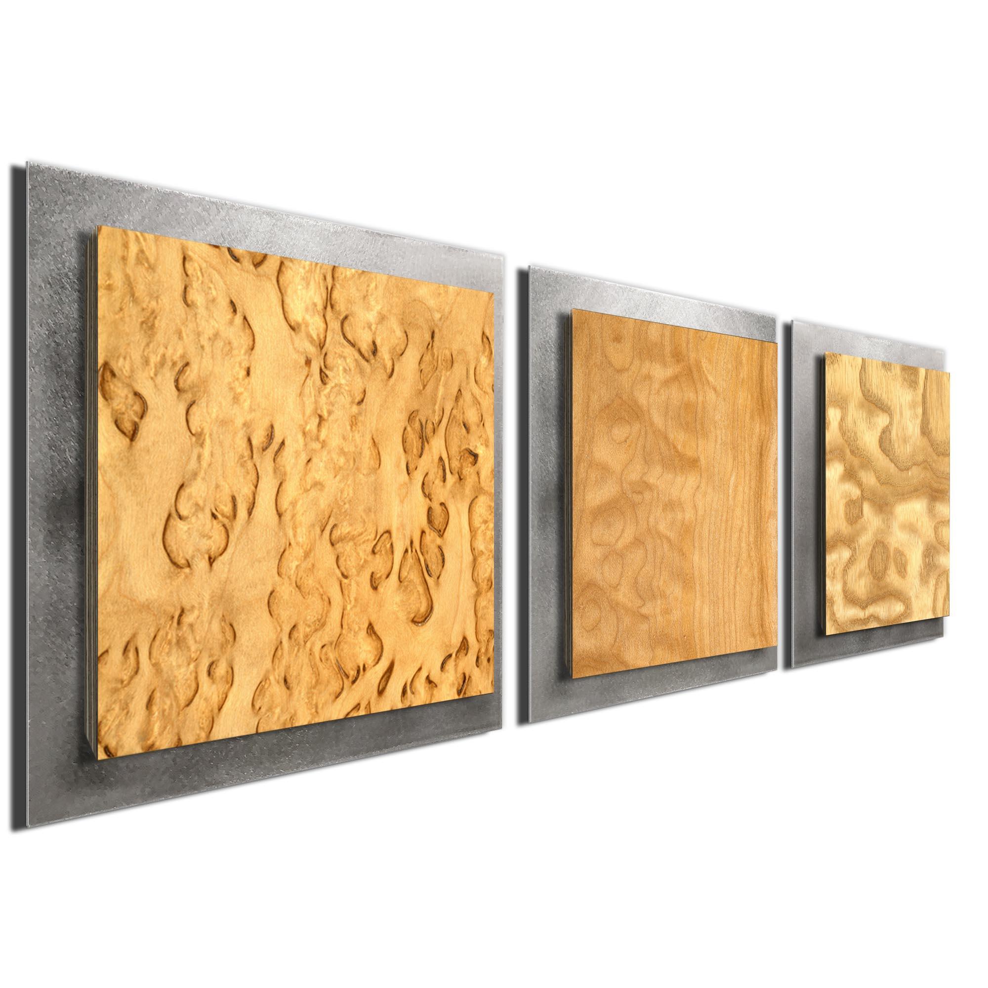 Light Burl Essence Silver by Jackson Wright Rustic Modern Style Wood Wall Art - Image 2