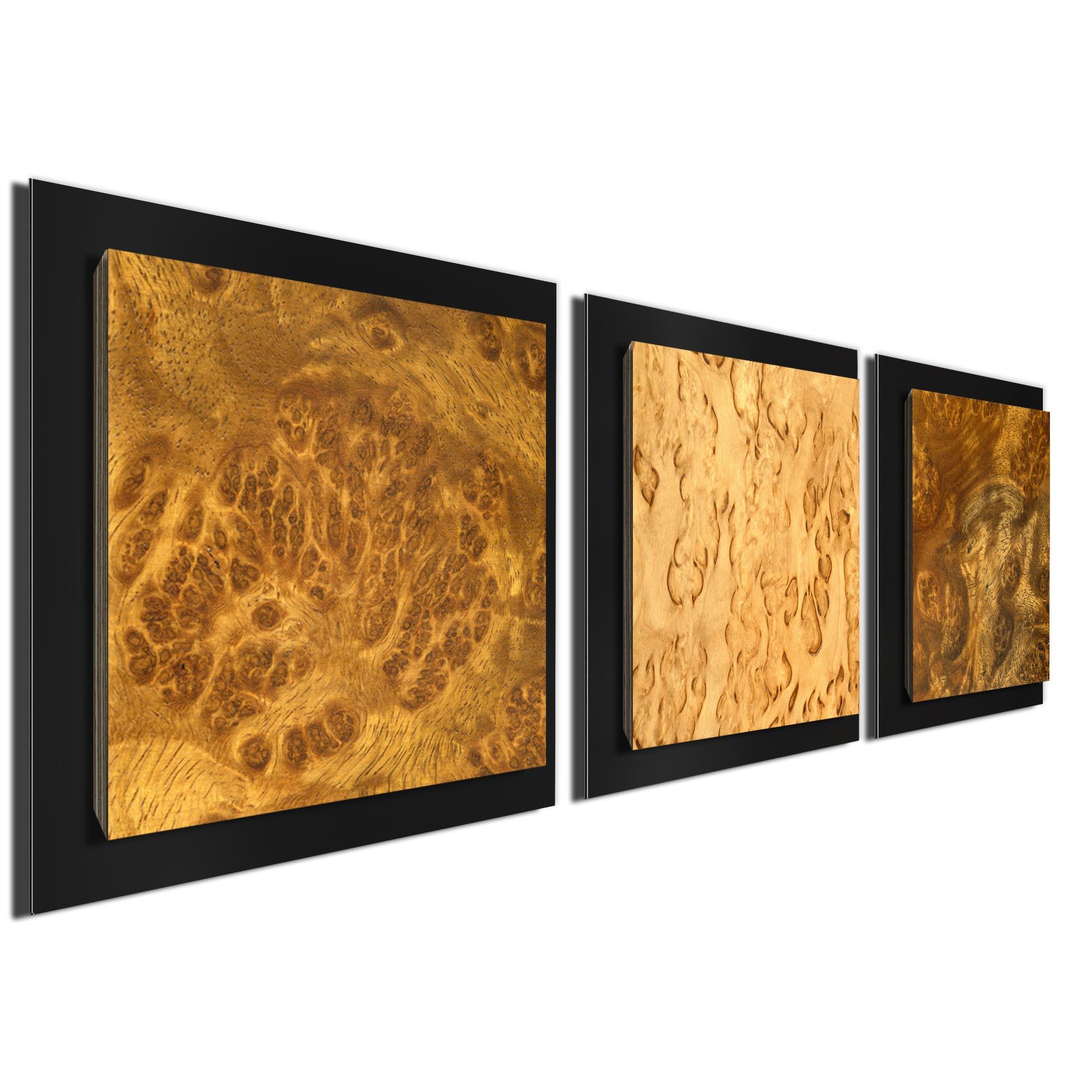 Flame Burl Essence Black by Jackson Wright Rustic Modern Style Wood Wall Art - Image 2