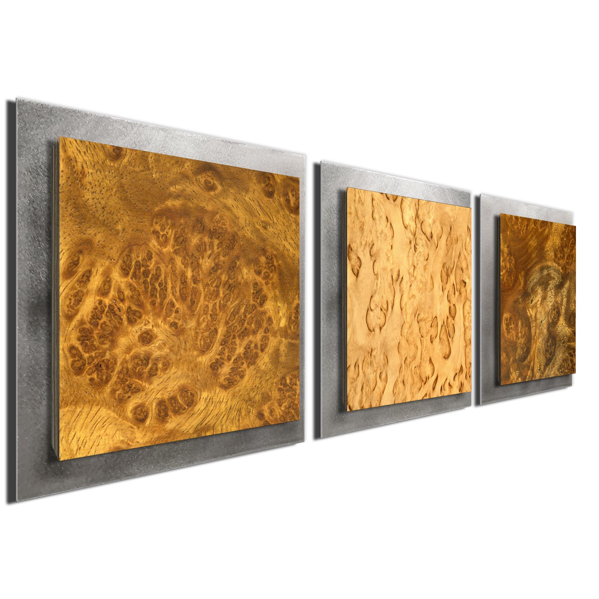 Flame Burl Essence Silver by Jackson Wright Rustic Modern Style Wood Wall Art - Image 2