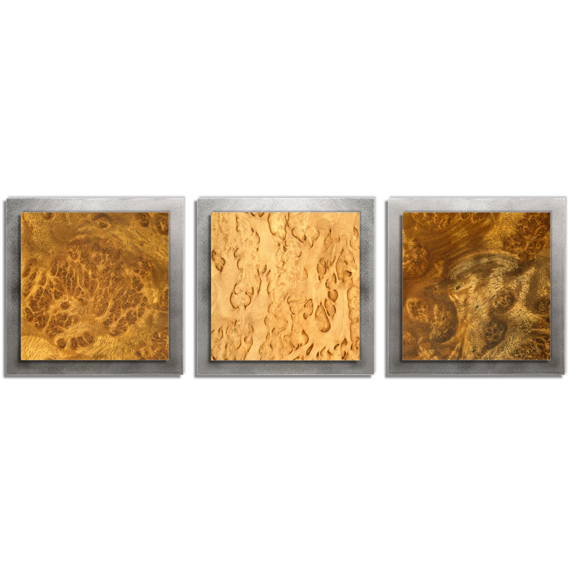 Jackson Wright 'Flame Burl Essence Silver' 38in x 12in Contemporary Style Wood Wall Art