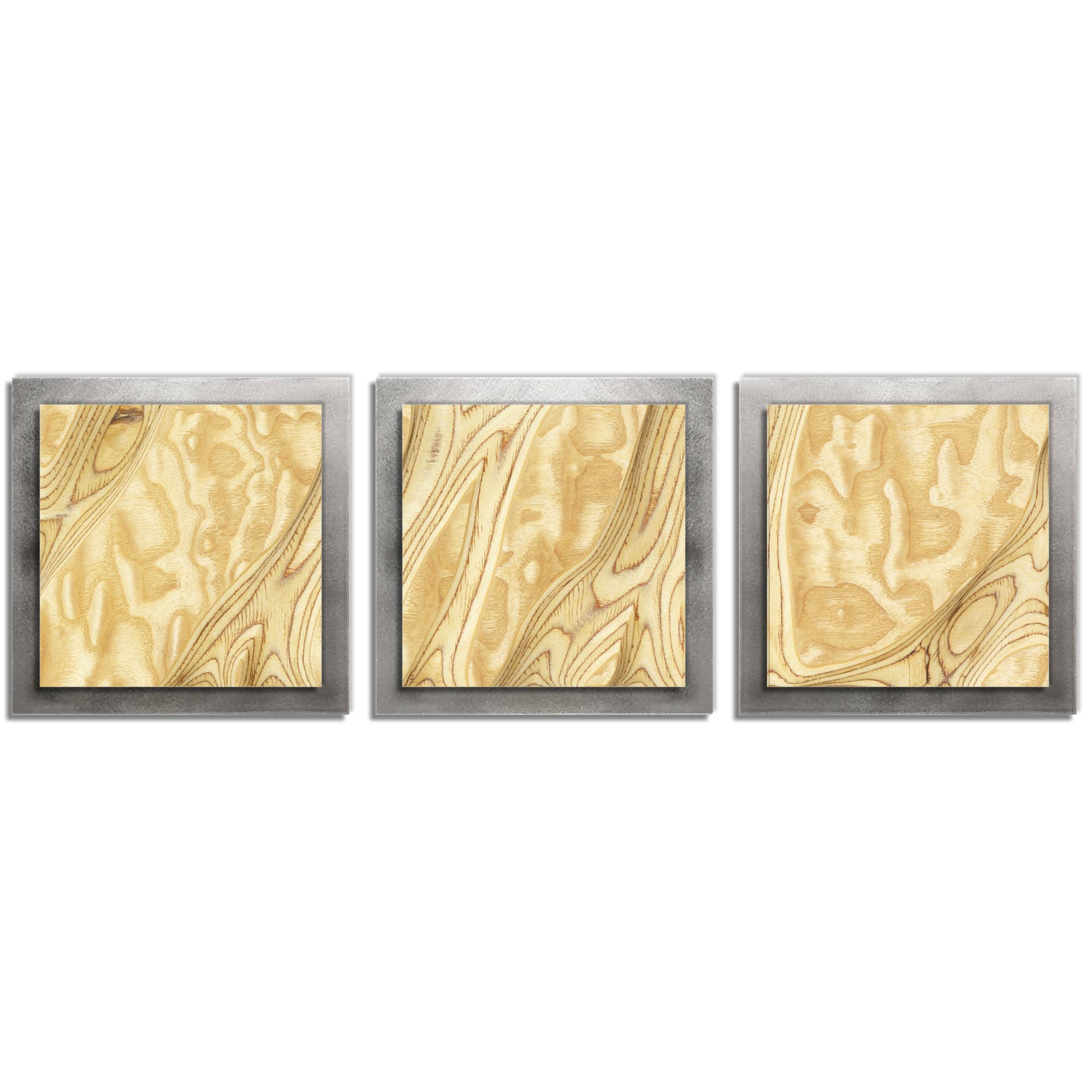 Jackson Wright 'Natural Burl Essence Silver' 38in x 12in Contemporary Style Wood Wall Art