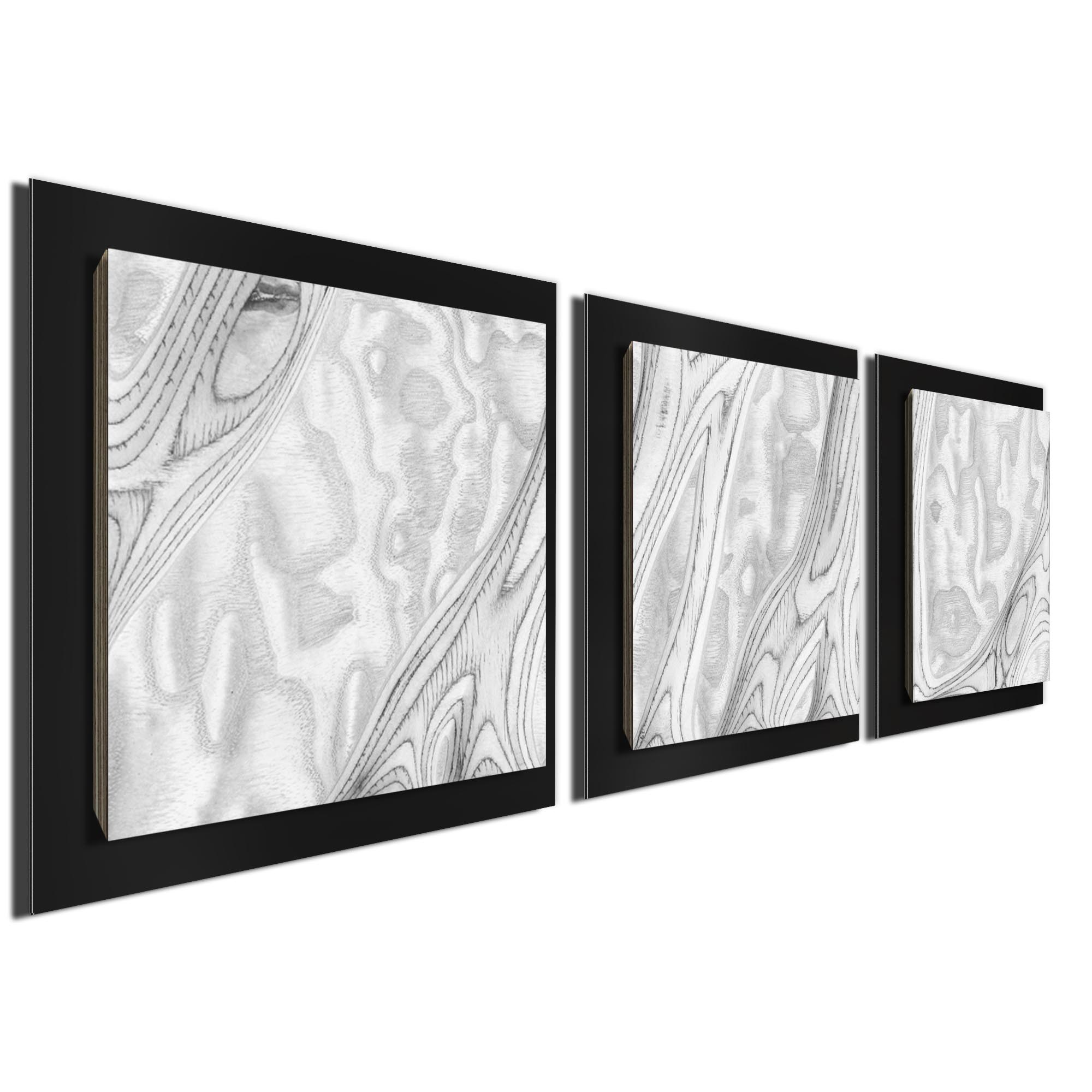 Whitewash Burl Essence Black by Jackson Wright Rustic Modern Style Wood Wall Art - Image 2
