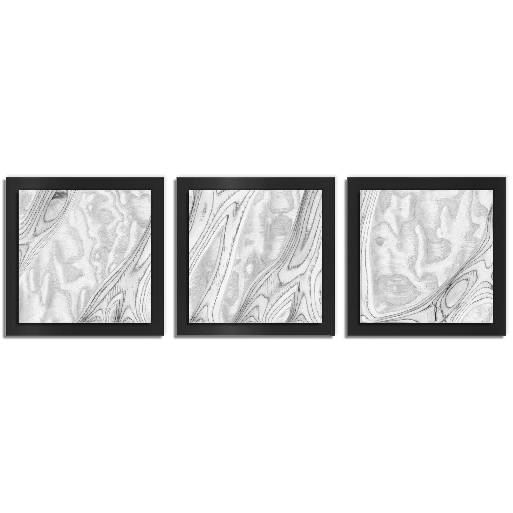Jackson Wright 'Whitewash Burl Essence Black' 38in x 12in Contemporary Style Wood Wall Art