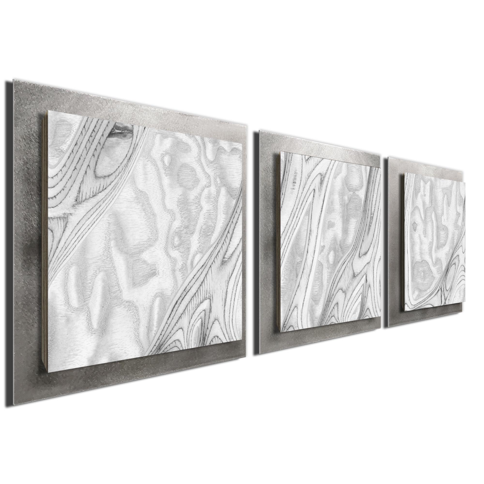 Whitewash Burl Essence Silver by Jackson Wright Rustic Modern Style Wood Wall Art - Image 2