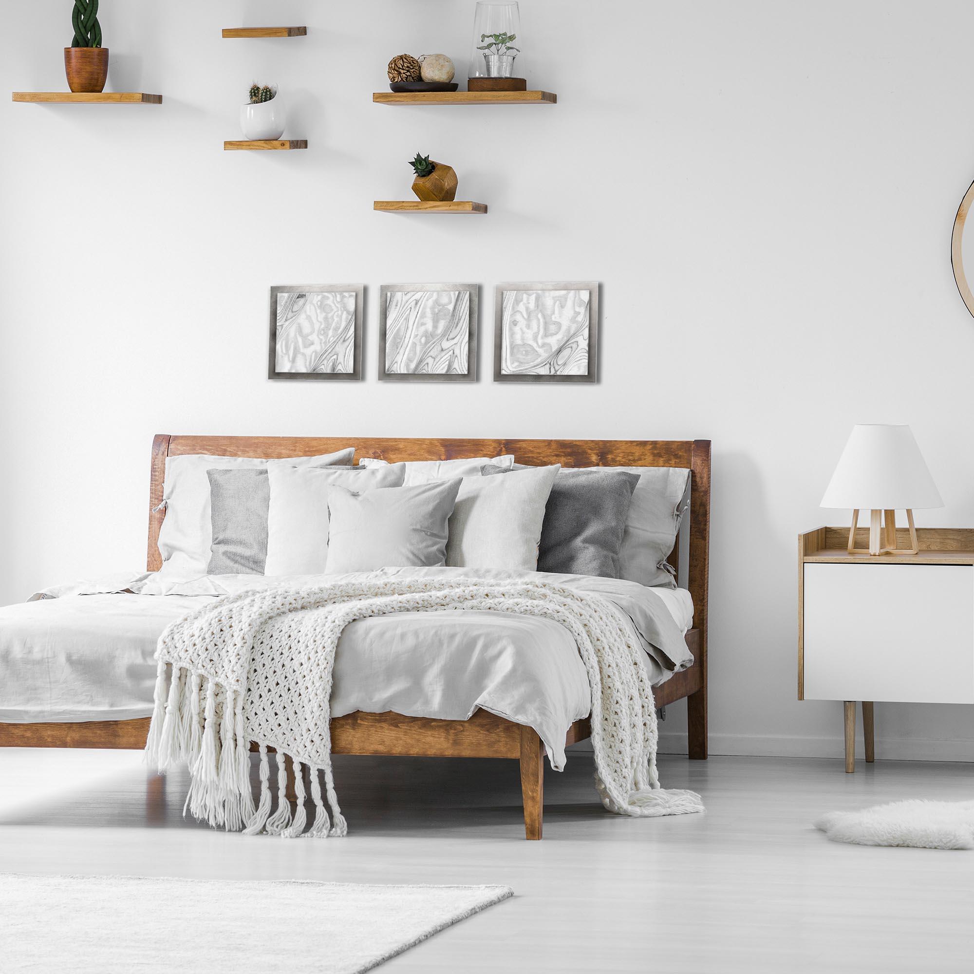 Whitewash Burl Essence Silver by Jackson Wright Rustic Modern Style Wood Wall Art - Lifestyle View