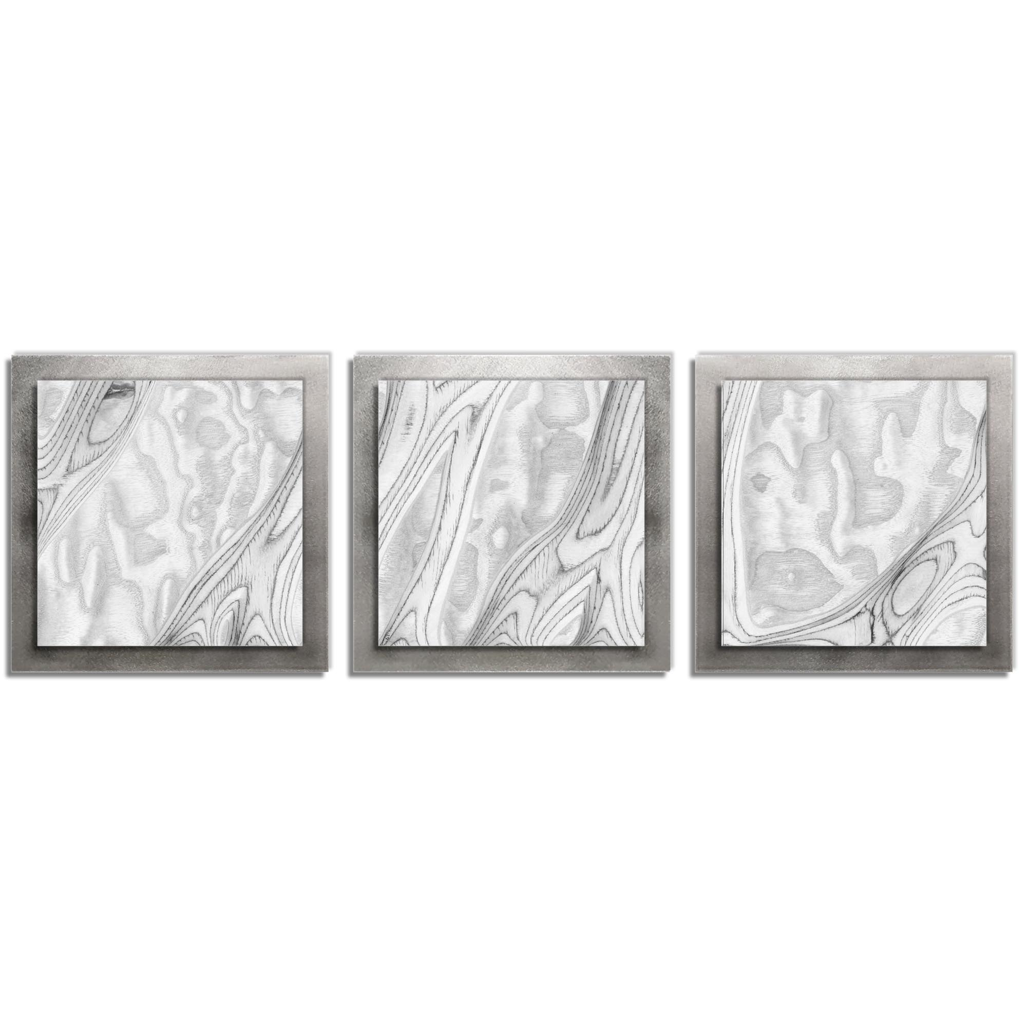 Jackson Wright 'Whitewash Burl Essence Silver' 38in x 12in Contemporary Style Wood Wall Art