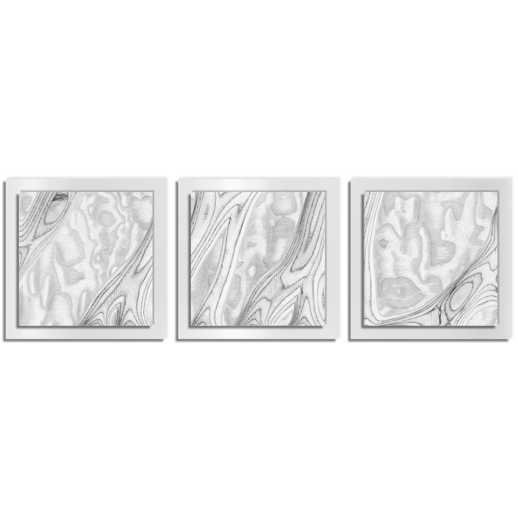 Jackson Wright 'Whitewash Burl Essence White' 38in x 12in Contemporary Style Wood Wall Art