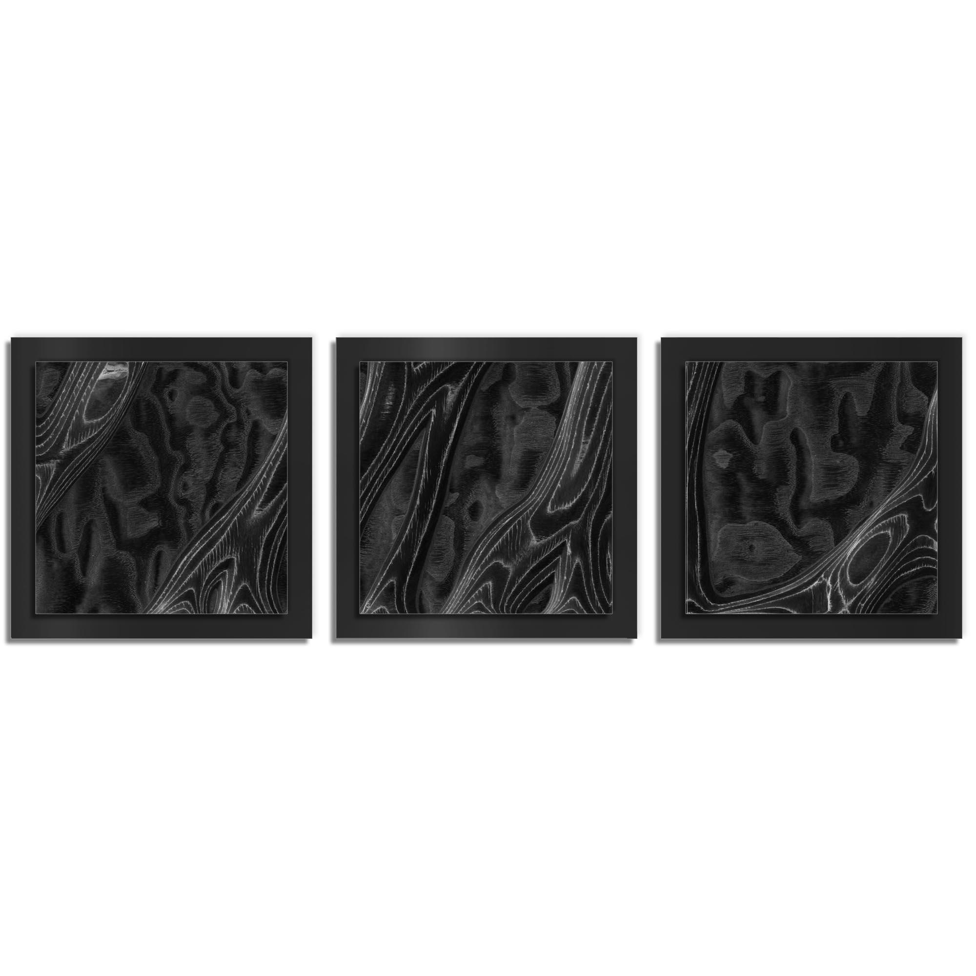 Jackson Wright 'Ebony Burl Essence Black' 38in x 12in Contemporary Style Wood Wall Art