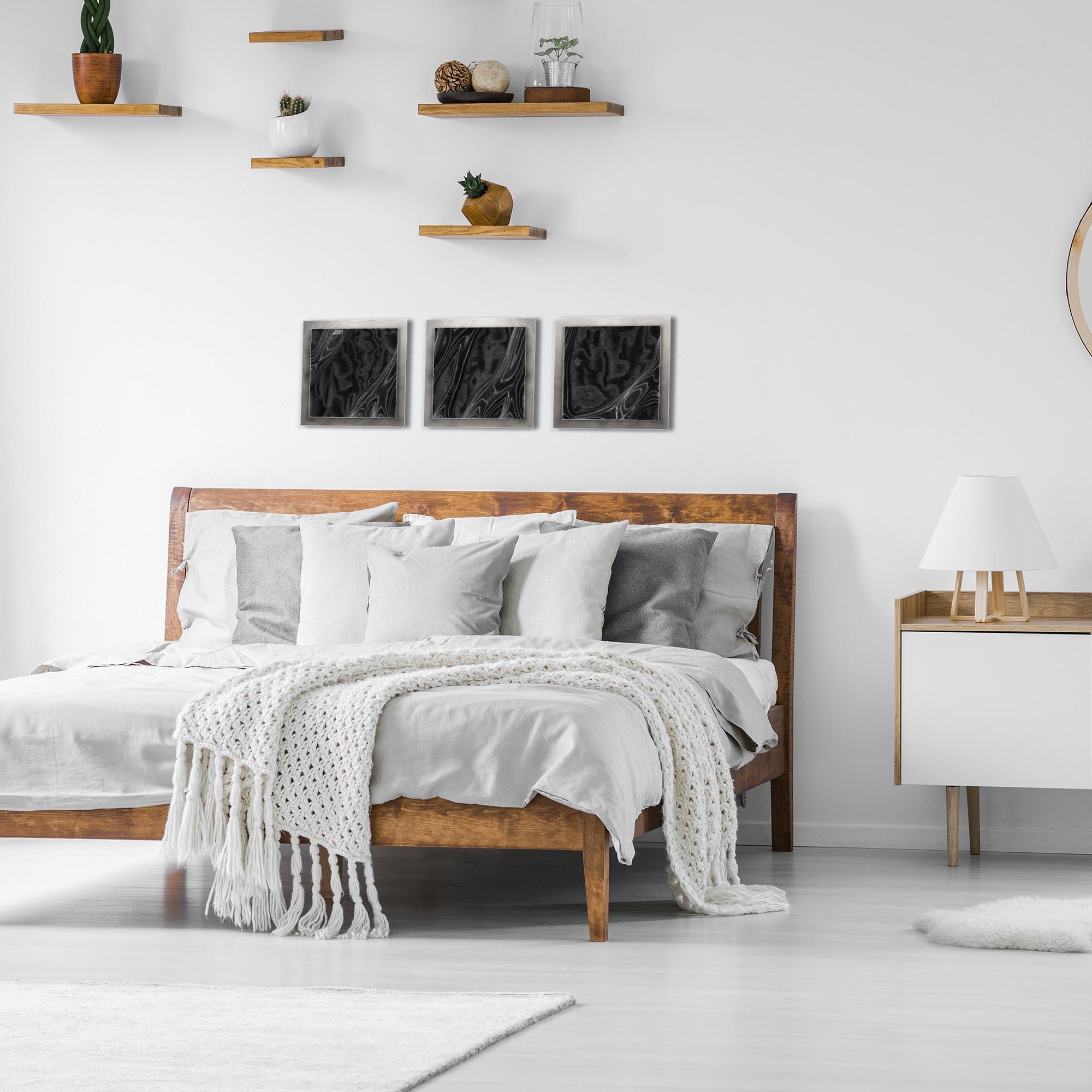 Ebony Burl Essence Silver by Jackson Wright Rustic Modern Style Wood Wall Art - Lifestyle View