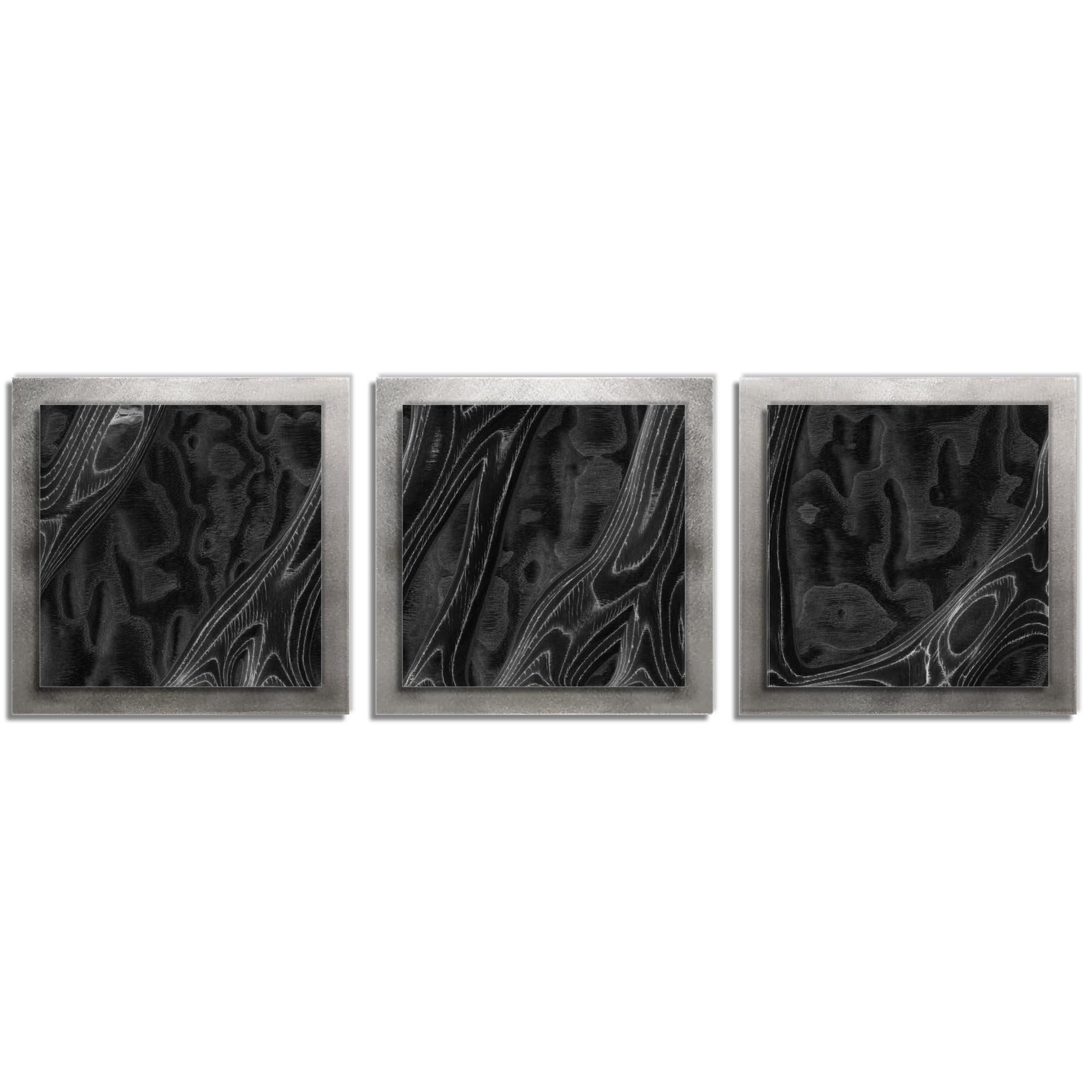 Jackson Wright 'Ebony Burl Essence Silver' 38in x 12in Contemporary Style Wood Wall Art