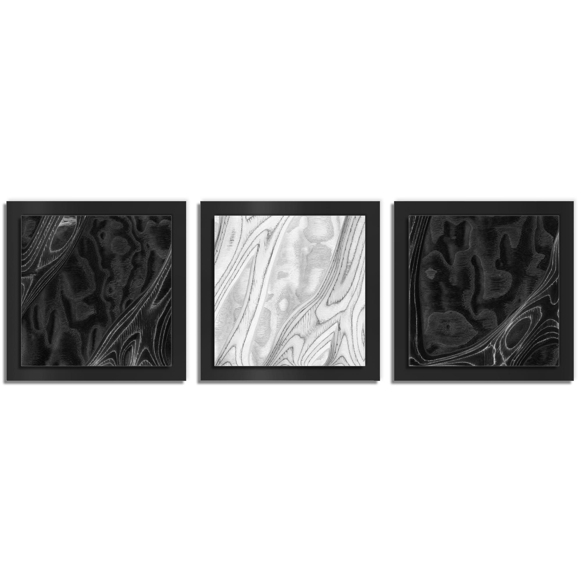 Jackson Wright 'BWB Burl Essence Black' 38in x 12in Contemporary Style Wood Wall Art