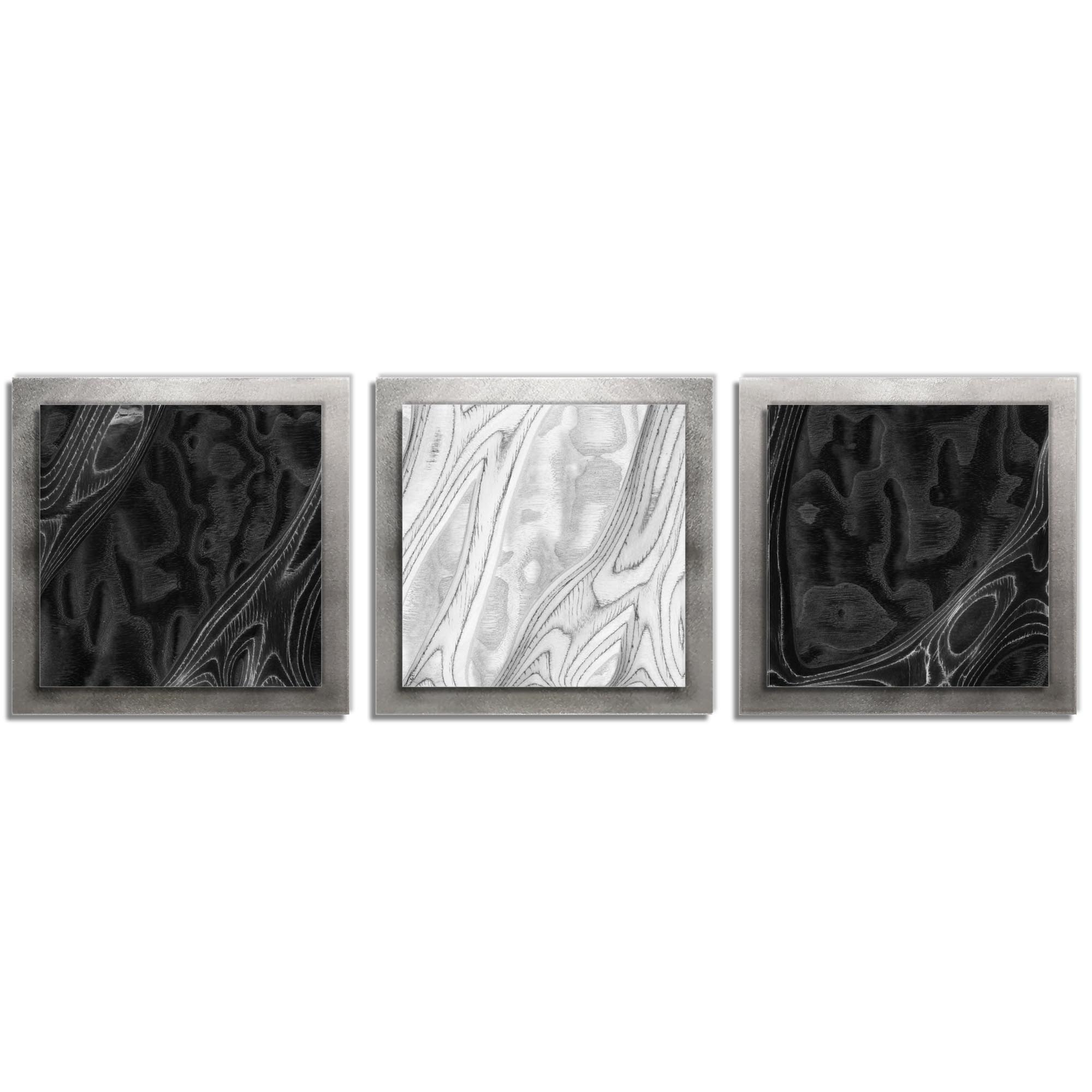 Jackson Wright 'BWB Burl Essence Silver' 38in x 12in Contemporary Style Wood Wall Art