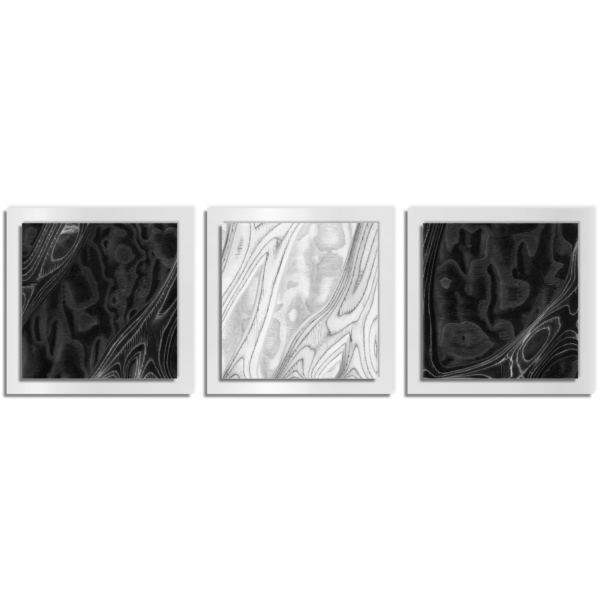 Jackson Wright 'BWB Burl Essence White' 38in x 12in Contemporary Style Wood Wall Art