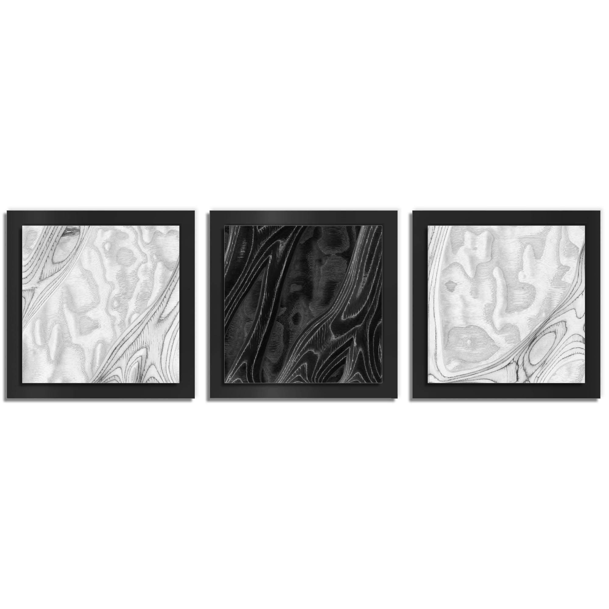 Jackson Wright 'WBW Burl Essence Black' 38in x 12in Contemporary Style Wood Wall Art