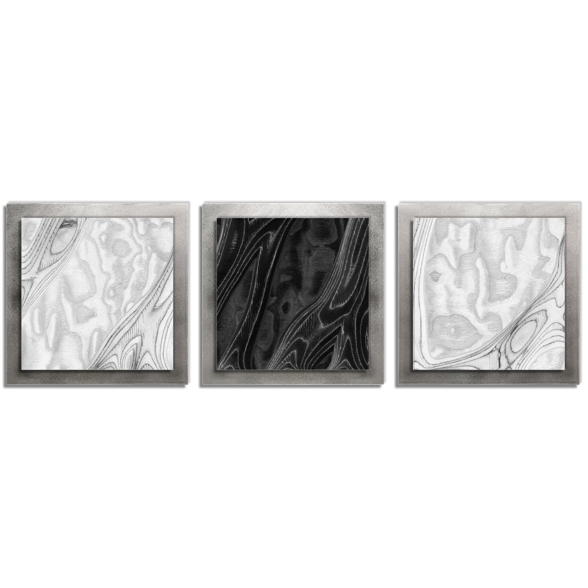 Jackson Wright 'WBW Burl Essence Silver' 38in x 12in Contemporary Style Wood Wall Art