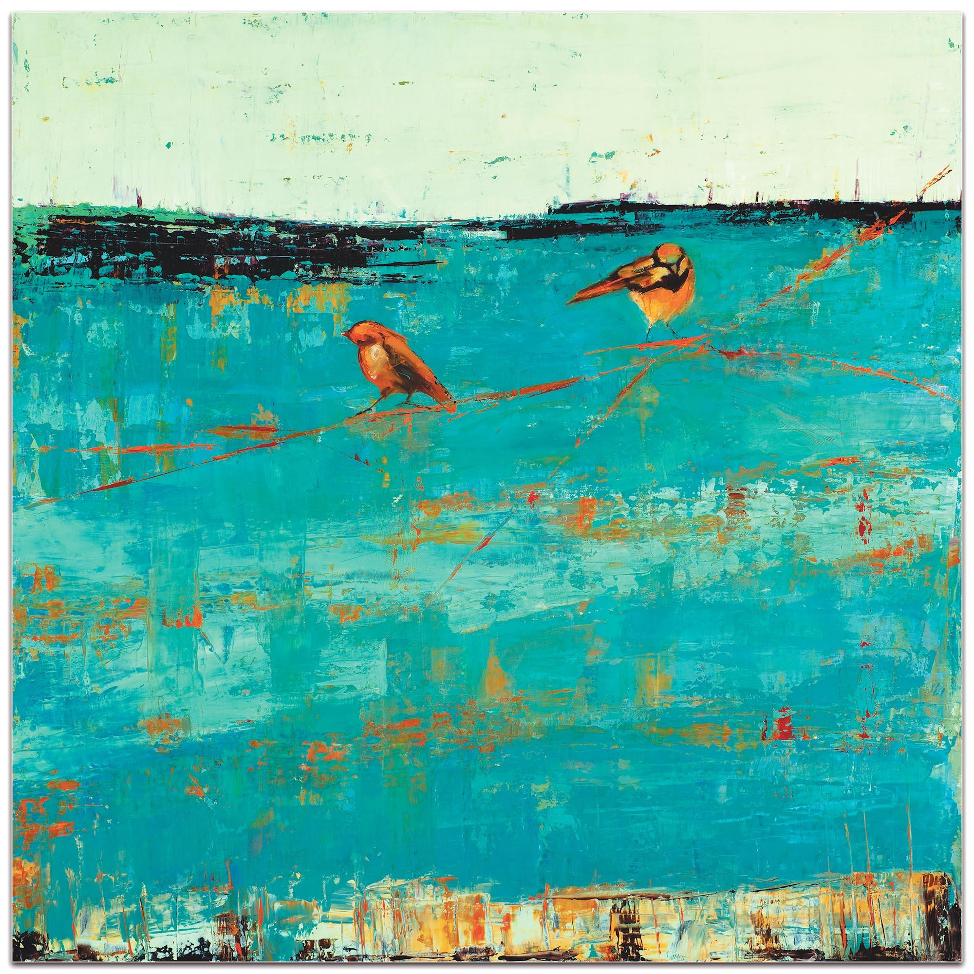 Contemporary Wall Art 'Two Chickadees on a Blue Horizon' - Urban Birds Decor on Metal or Plexiglass - Image 2