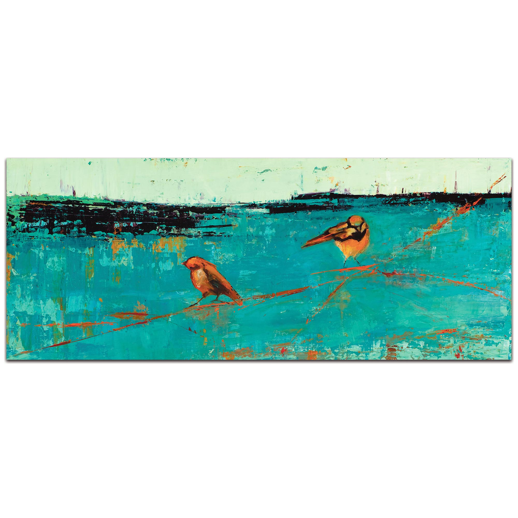 Contemporary Wall Art 'Two Chickadees on a Blue Horizon v2' - Urban Birds Decor on Metal or Plexiglass