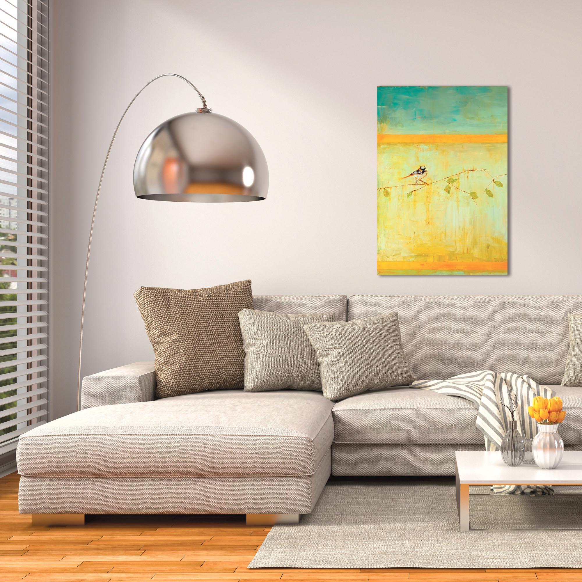 Contemporary Wall Art 'Bird with Horizontal Stripes v2' - Urban Birds Decor on Metal or Plexiglass - Lifestyle View