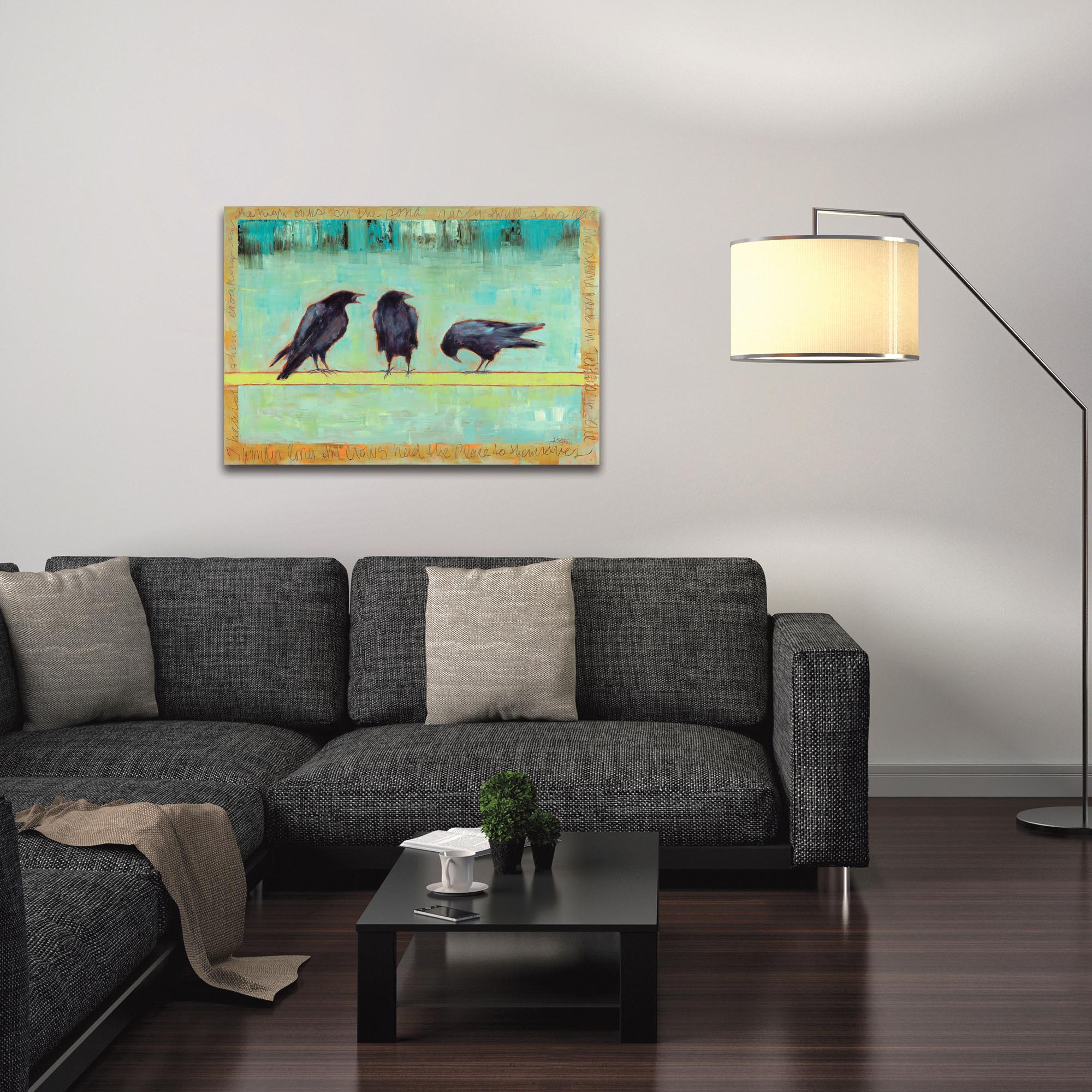 Contemporary Wall Art 'Crow Bar 1' - Urban Birds Decor on Metal or Plexiglass - Lifestyle View