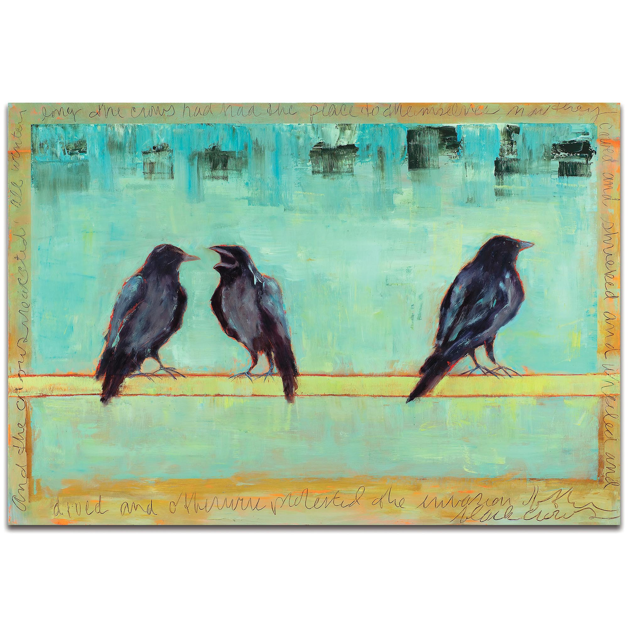 Contemporary Wall Art 'Crow Bar 2' - Urban Birds Decor on Metal or Plexiglass