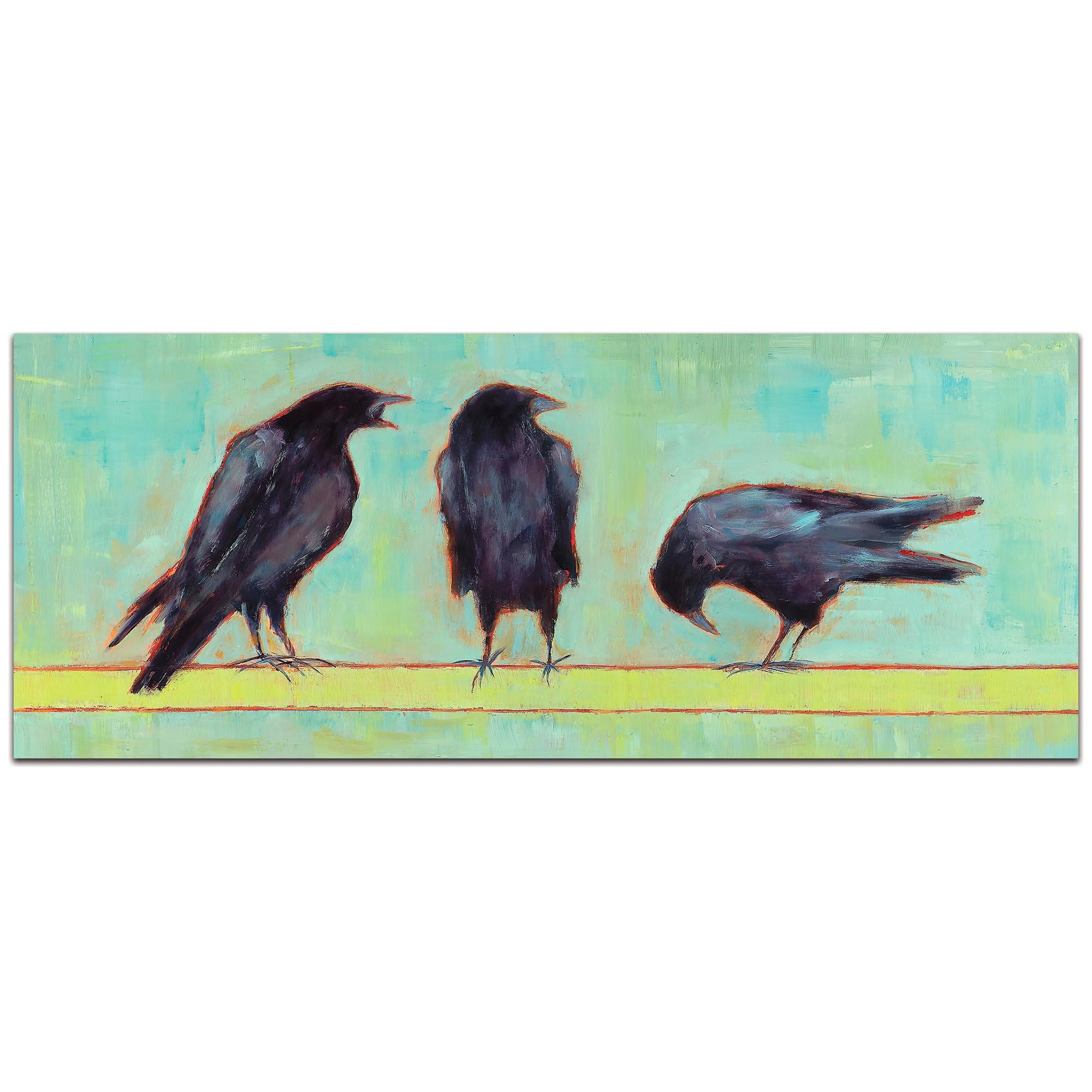 Contemporary Wall Art 'Crow Bar 1 v2' - Urban Birds Decor on Metal or Plexiglass