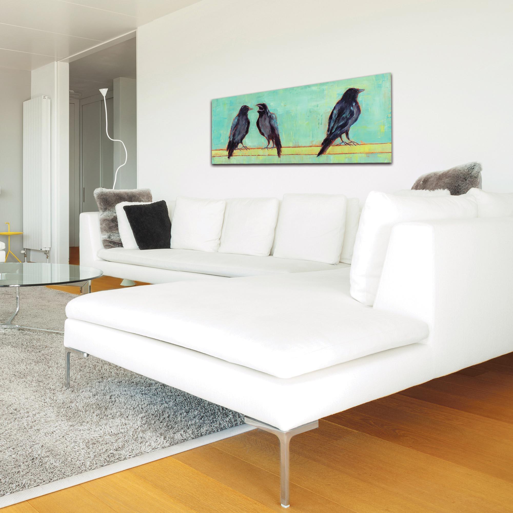Contemporary Wall Art 'Crow Bar 2 v2' - Urban Birds Decor on Metal or Plexiglass - Lifestyle View